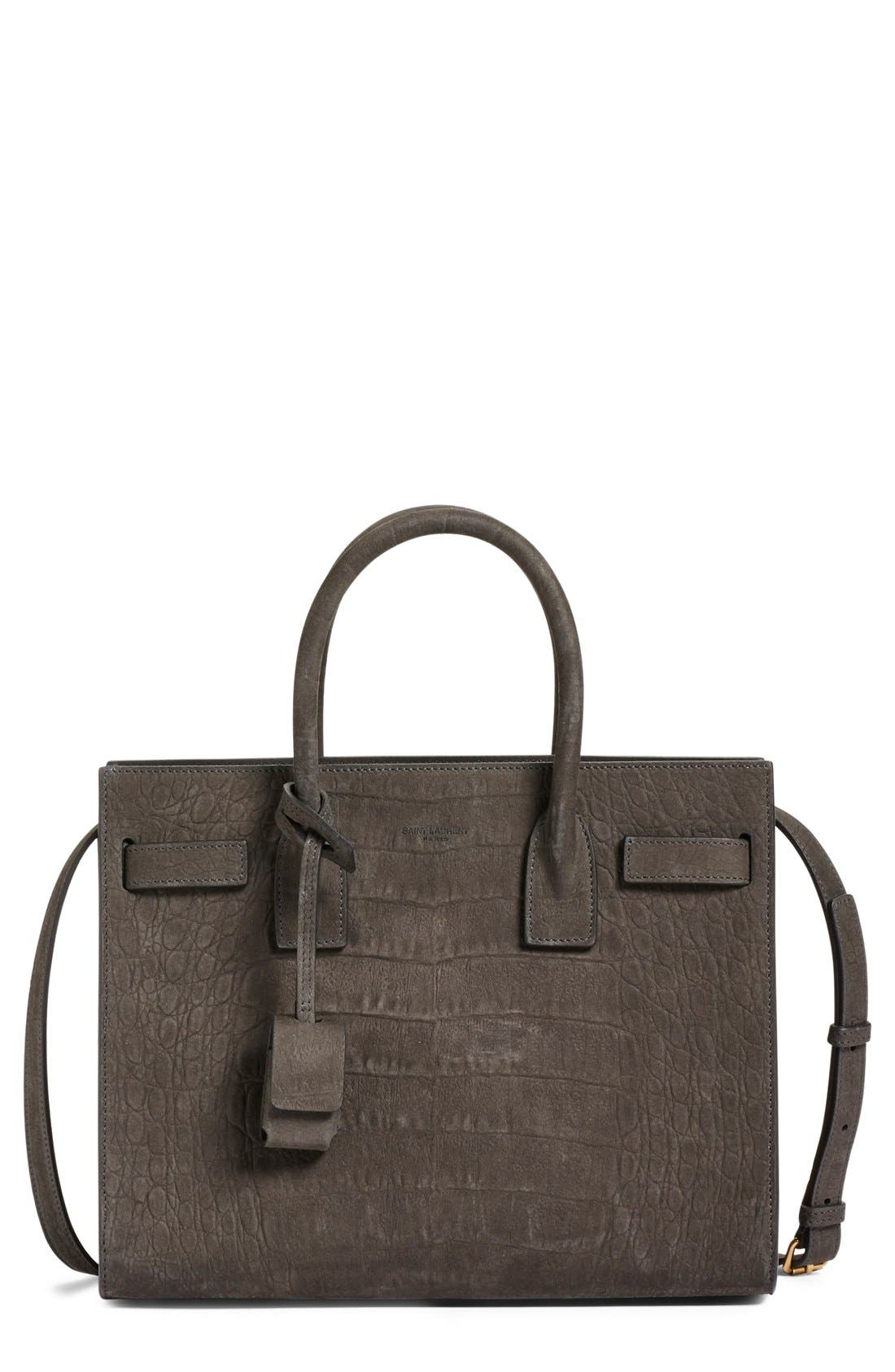 'Baby Sac de Jour' Croc Embossed Leather Tote,                             Main thumbnail 1, color,                             022