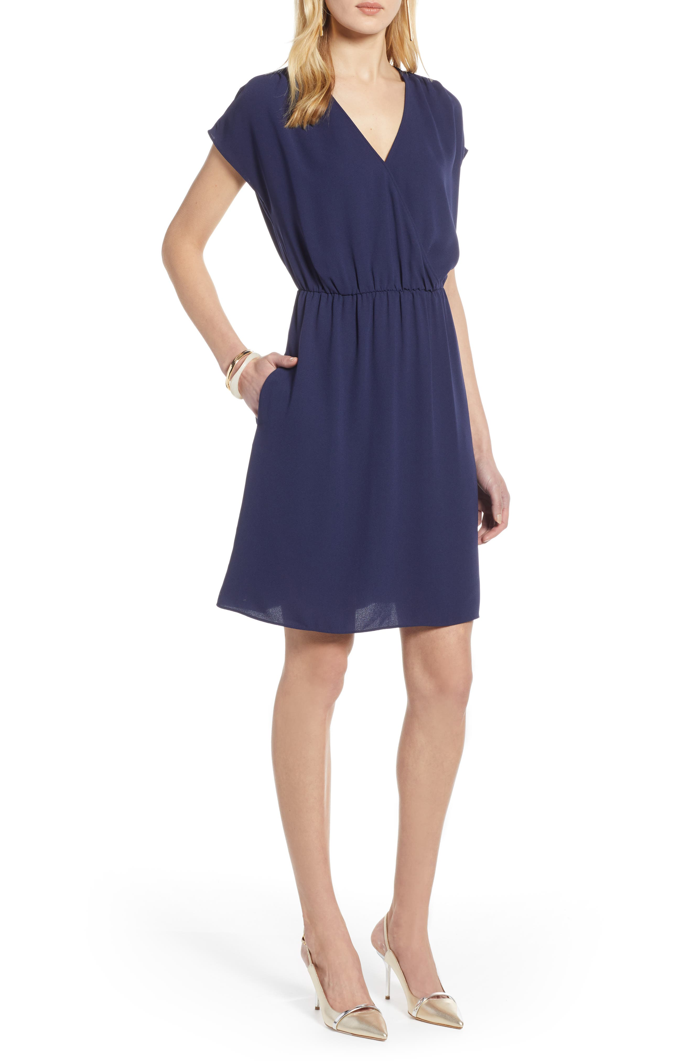 Petite Halogen Faux Wrap Dress, Blue