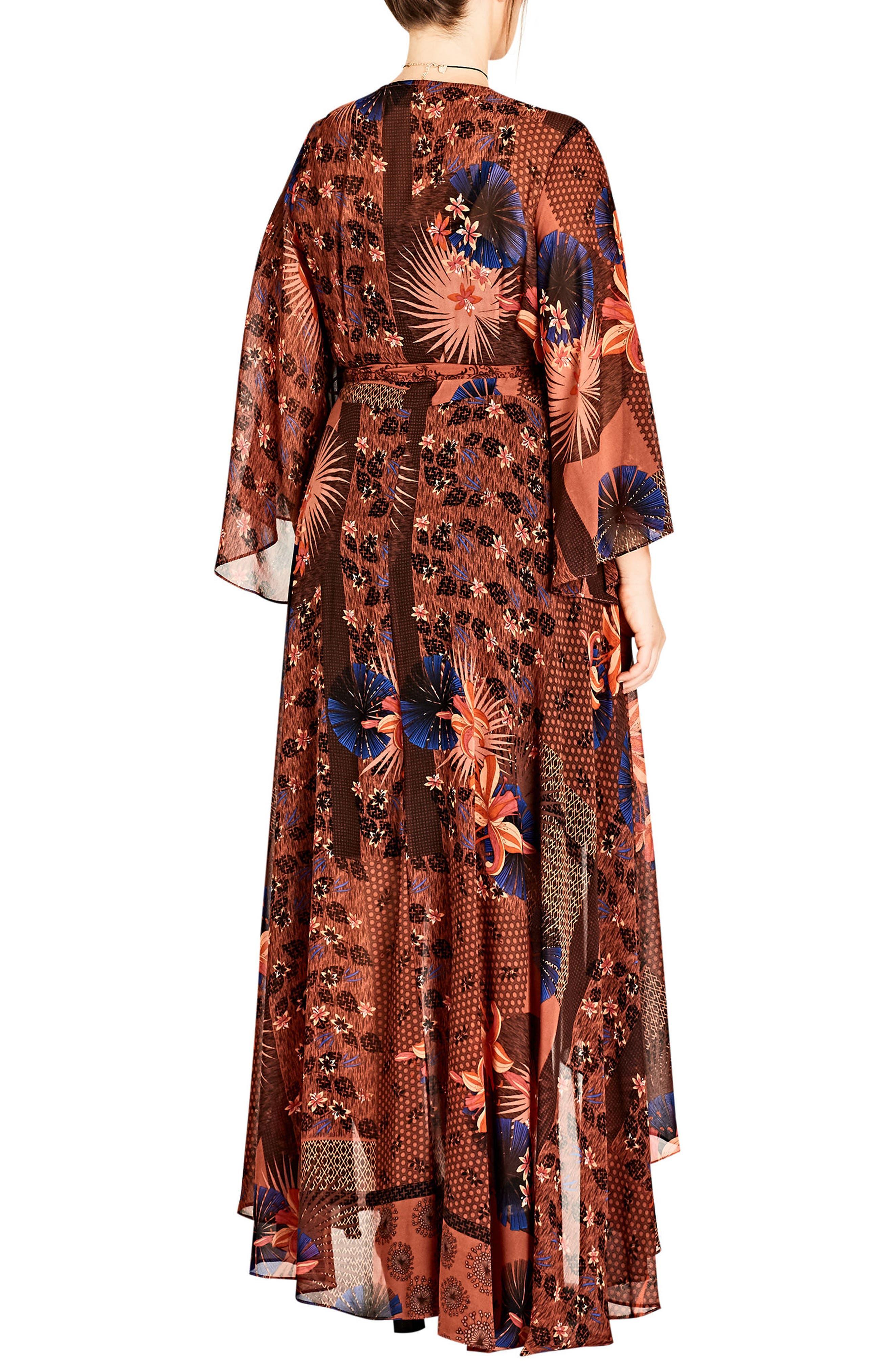 Patchwork Print Wrap Maxi Dress,                             Alternate thumbnail 2, color,                             609