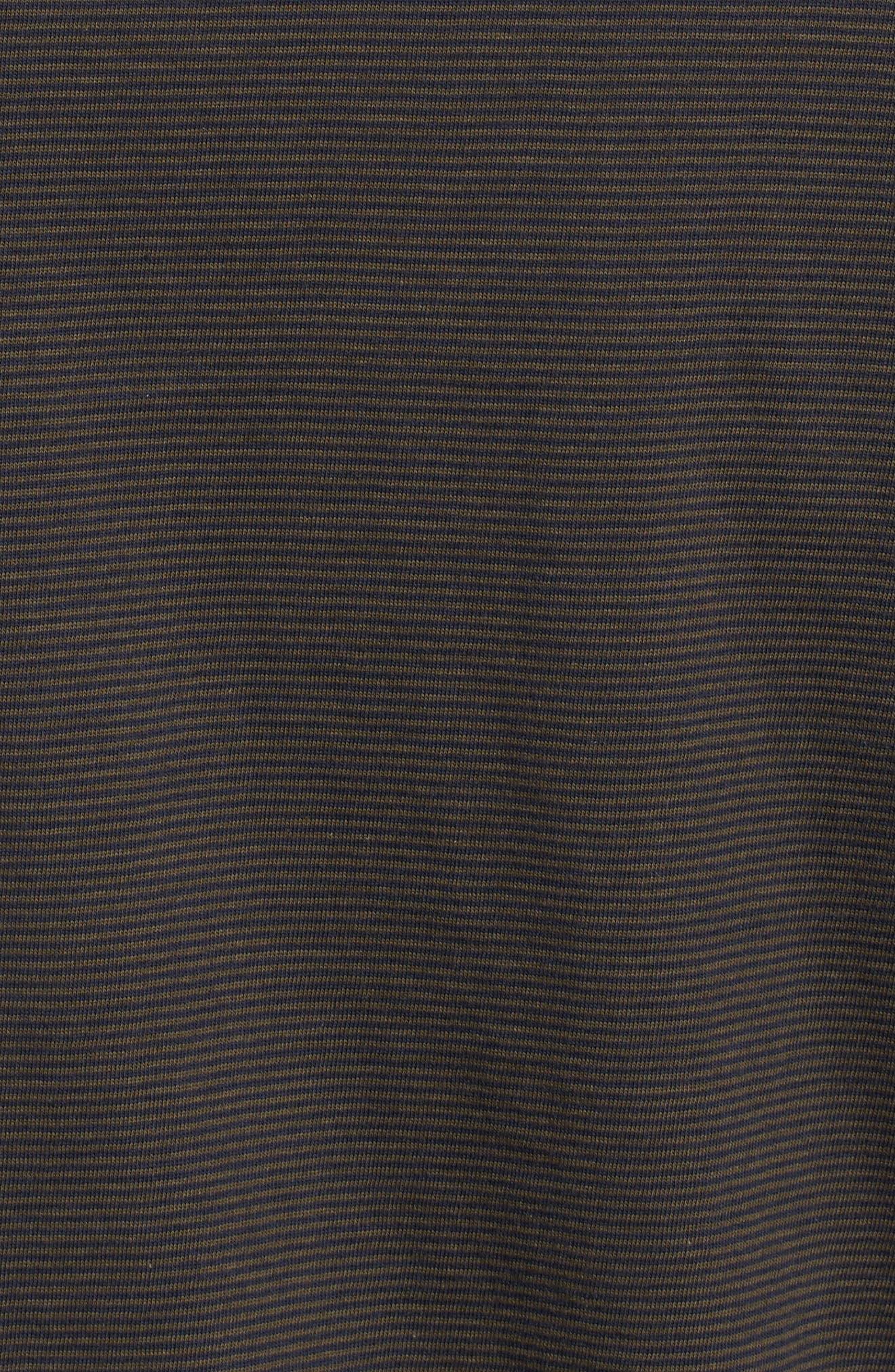 Peruvian Pima Cotton T-Shirt,                             Alternate thumbnail 5, color,                             ARMY/ MIDNIGHT STRIPE