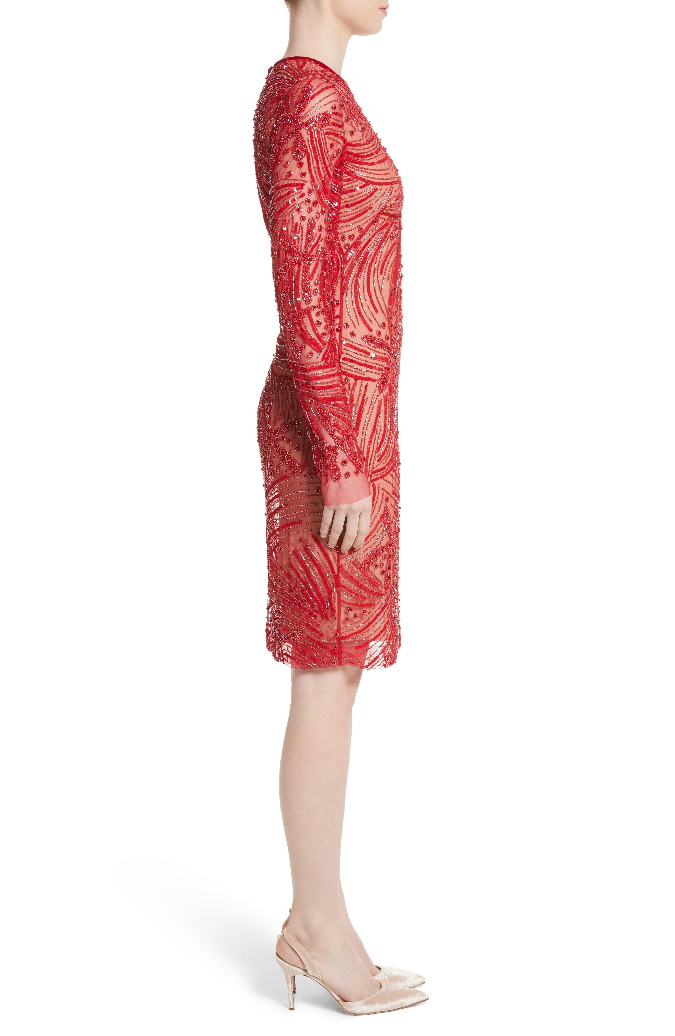 Beaded Sheath Dress,                             Alternate thumbnail 3, color,                             600
