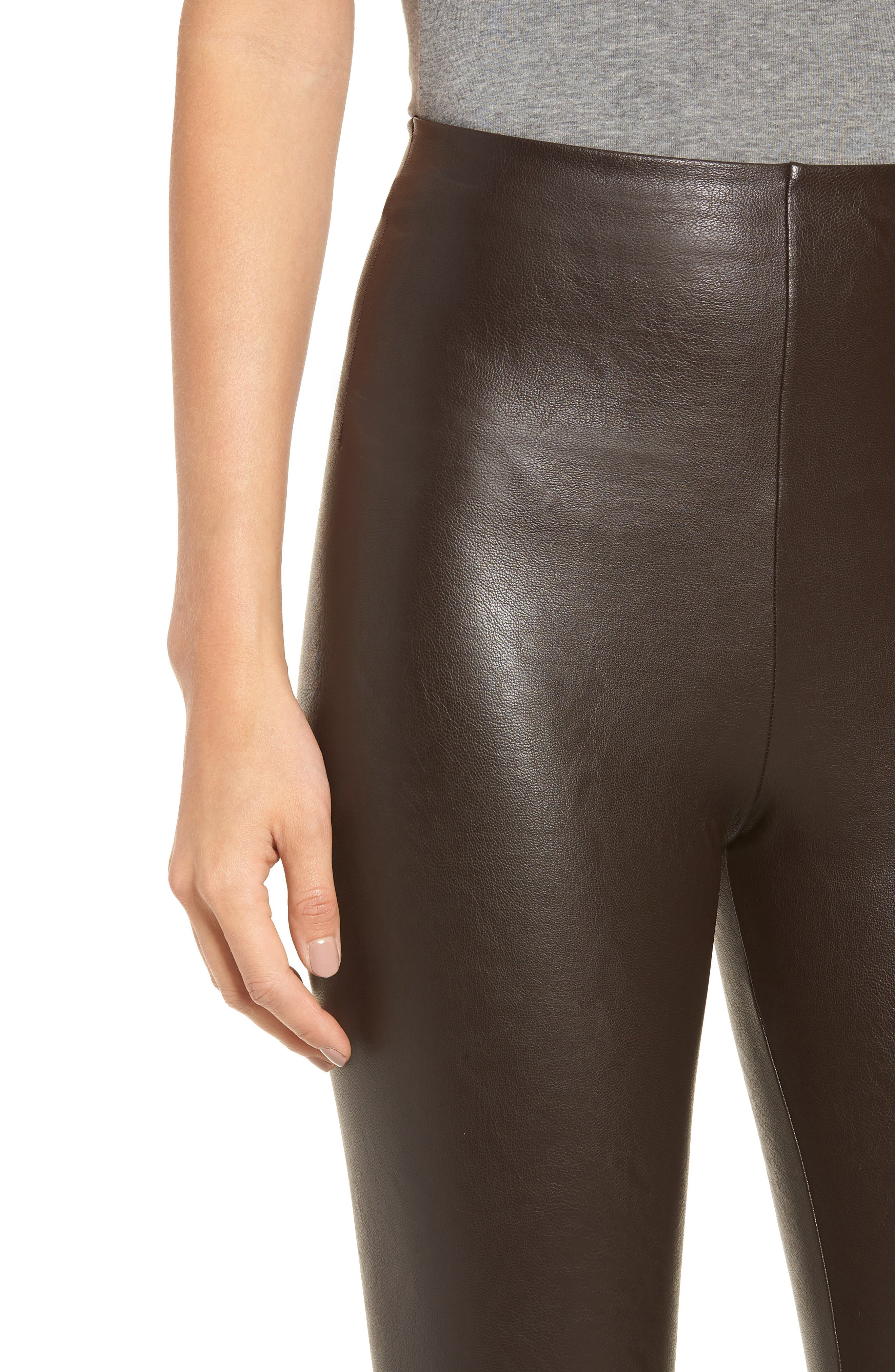 Perfect Control Faux Leather Leggings,                             Alternate thumbnail 4, color,                             201