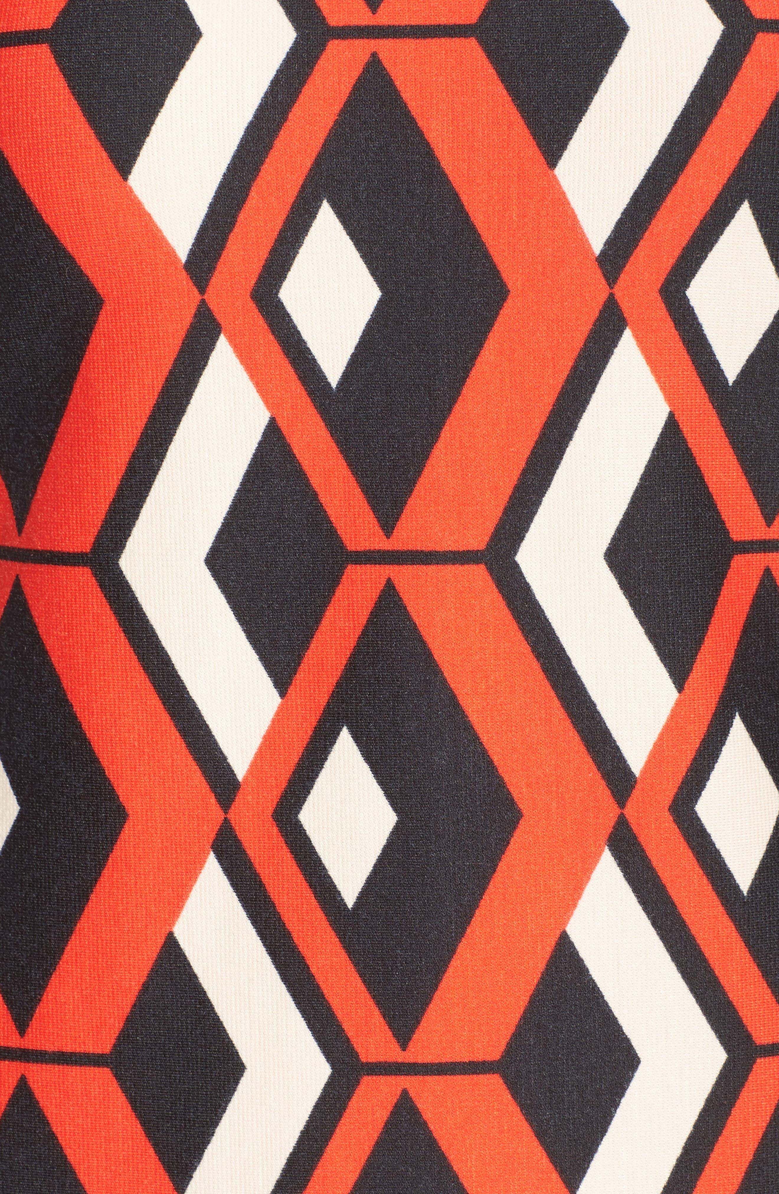 Geo Print Shift Dress,                             Alternate thumbnail 6, color,                             628