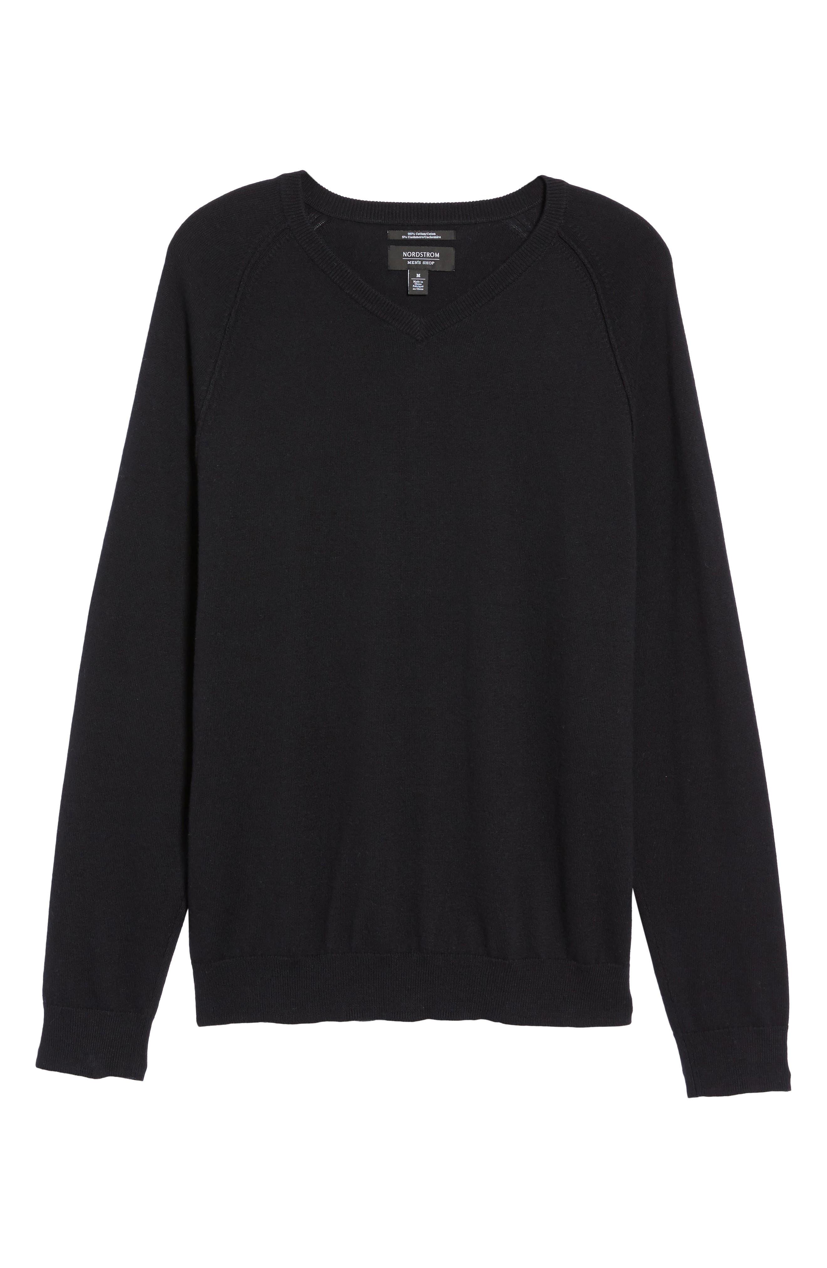 Saddle Shoulder Cotton & Cashmere V-Neck Sweater,                             Alternate thumbnail 41, color,