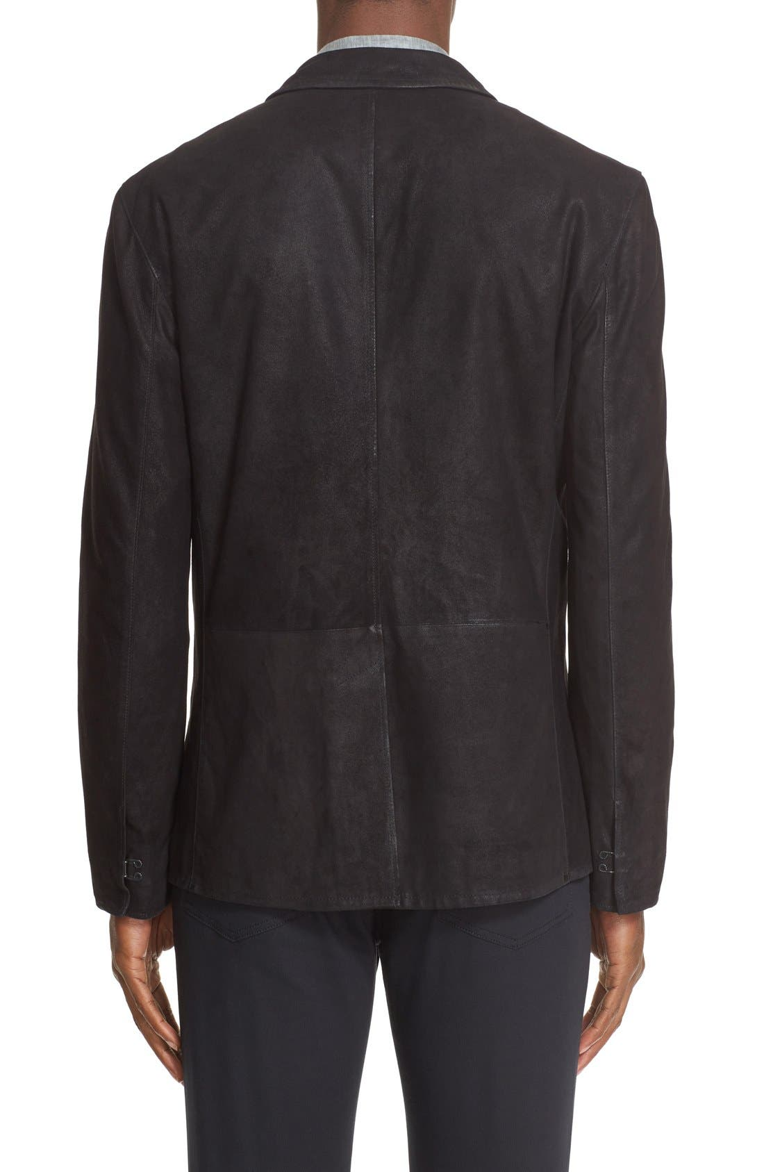 Slim Fit Leather Sport Coat,                             Alternate thumbnail 2, color,                             001