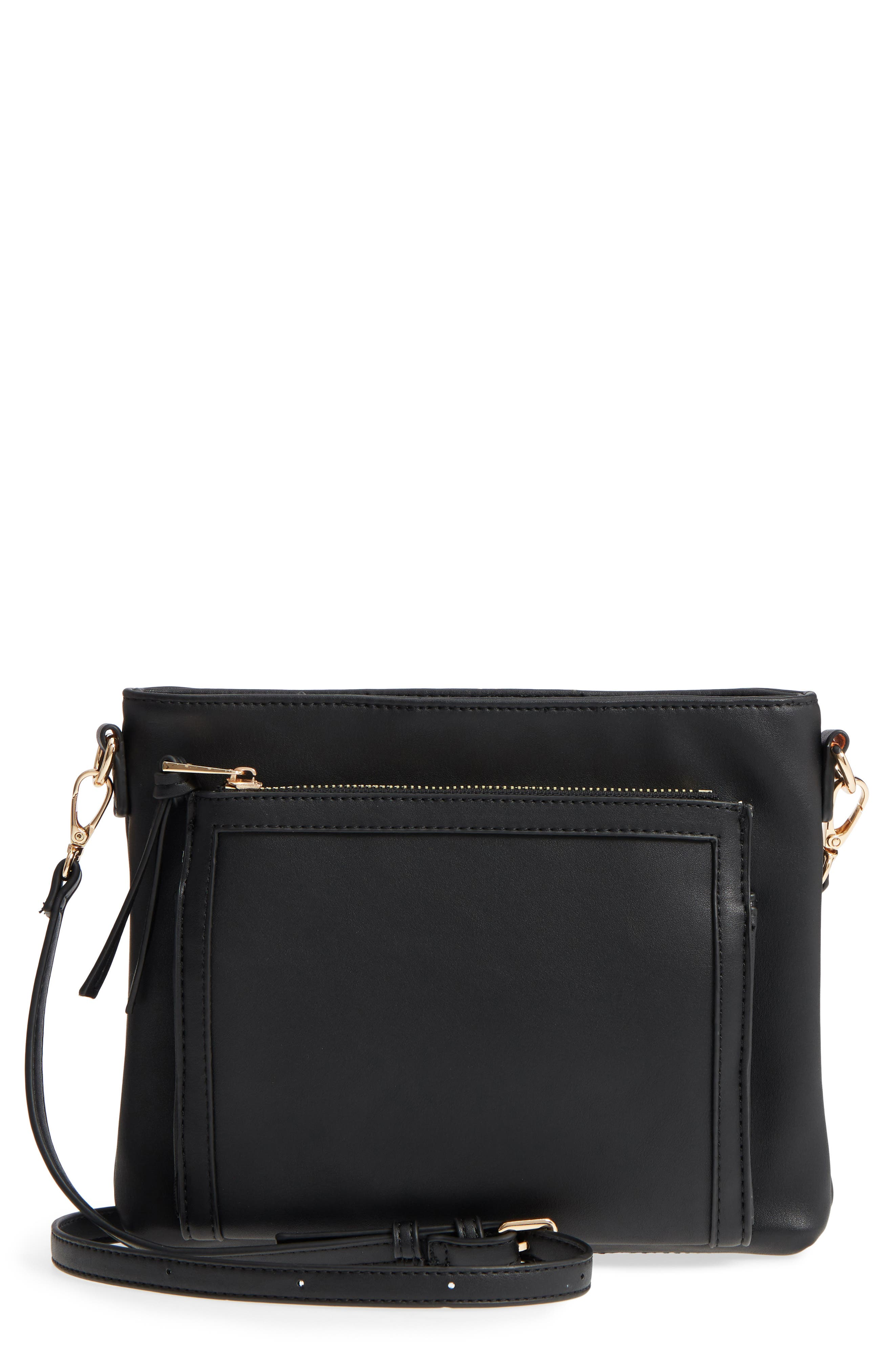 Flat Faux Leather Crossbody Bag,                             Main thumbnail 1, color,                             001
