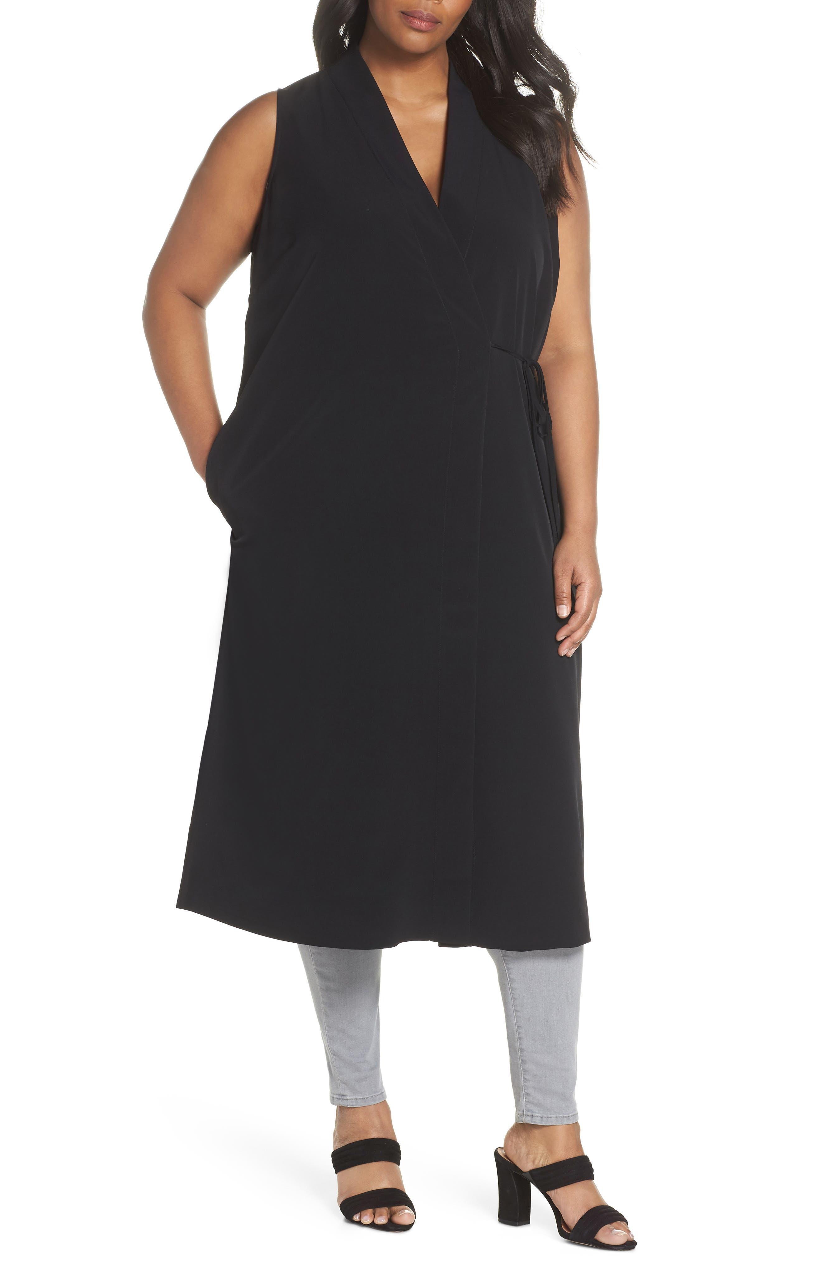 Duster Vest,                         Main,                         color, BLACK