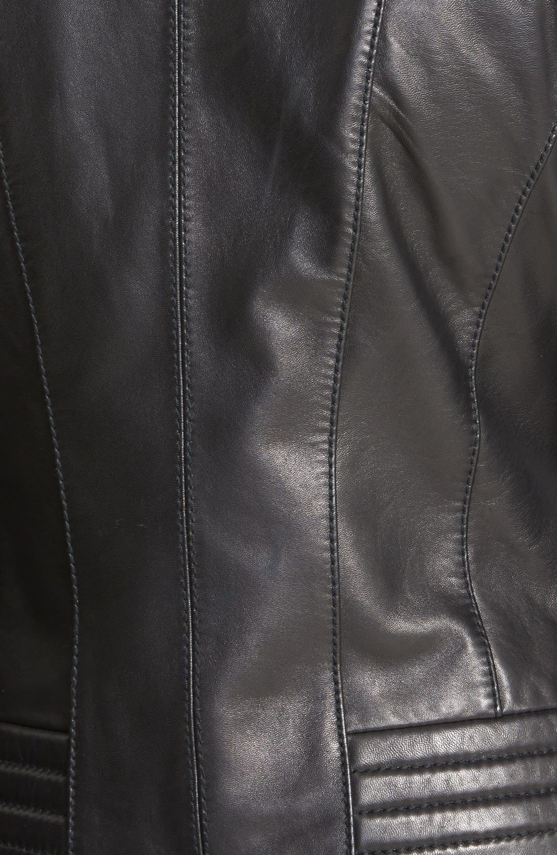Quilt Detail Leather Jacket,                             Alternate thumbnail 3, color,                             001