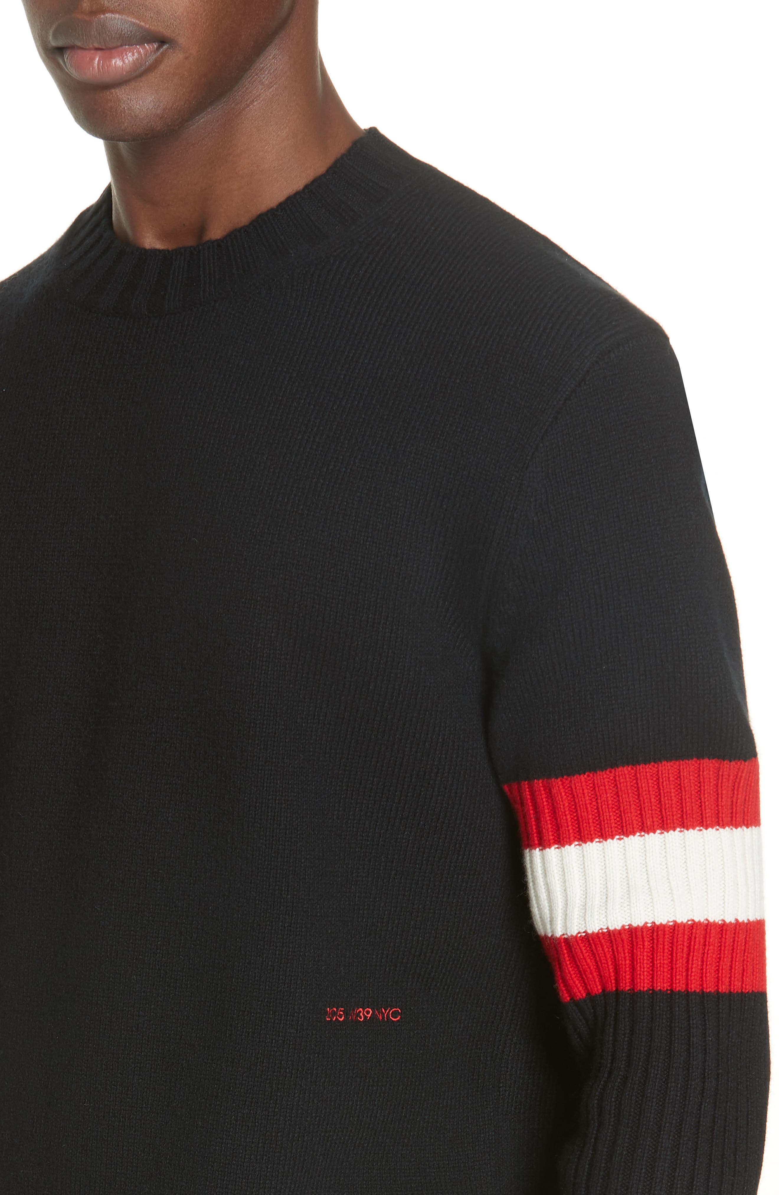 CALVIN KLEIN 205W39NYC,                             Cashmere Stripe Sleeve Sweater,                             Alternate thumbnail 4, color,                             001