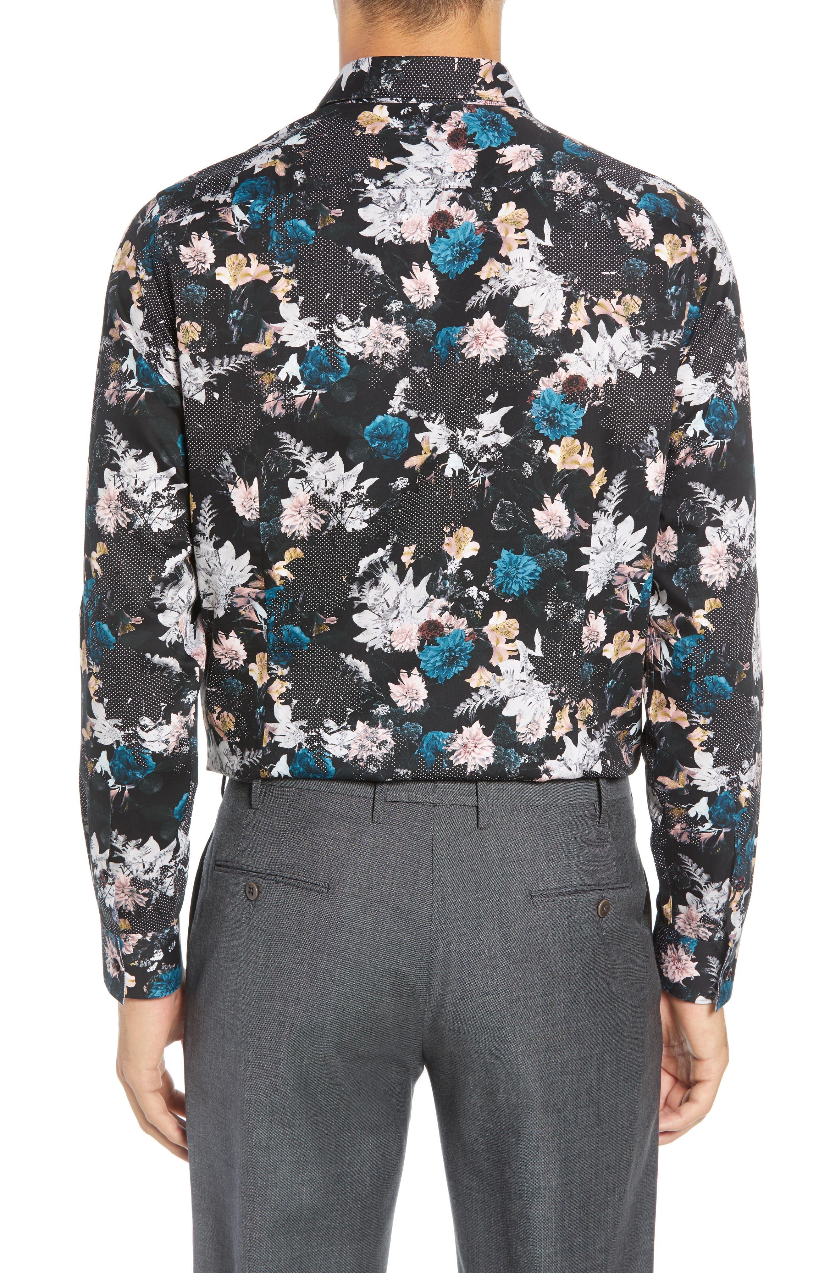 Rhubarb Modern Fit Floral Dress Shirt,                             Alternate thumbnail 3, color,                             BLACK