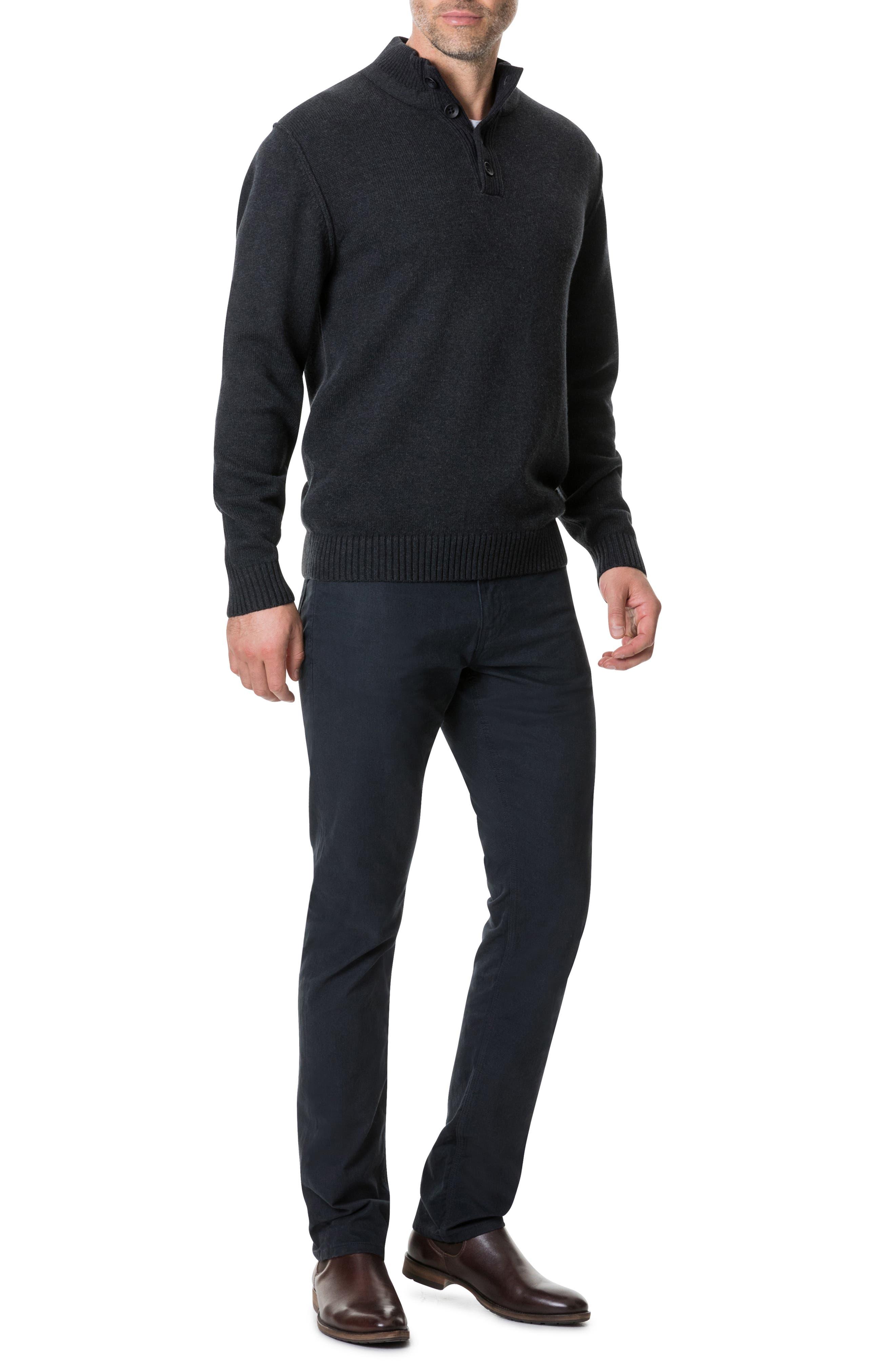 Kent Terrace Quarter Button Sweater,                             Alternate thumbnail 5, color,                             CHARCOAL