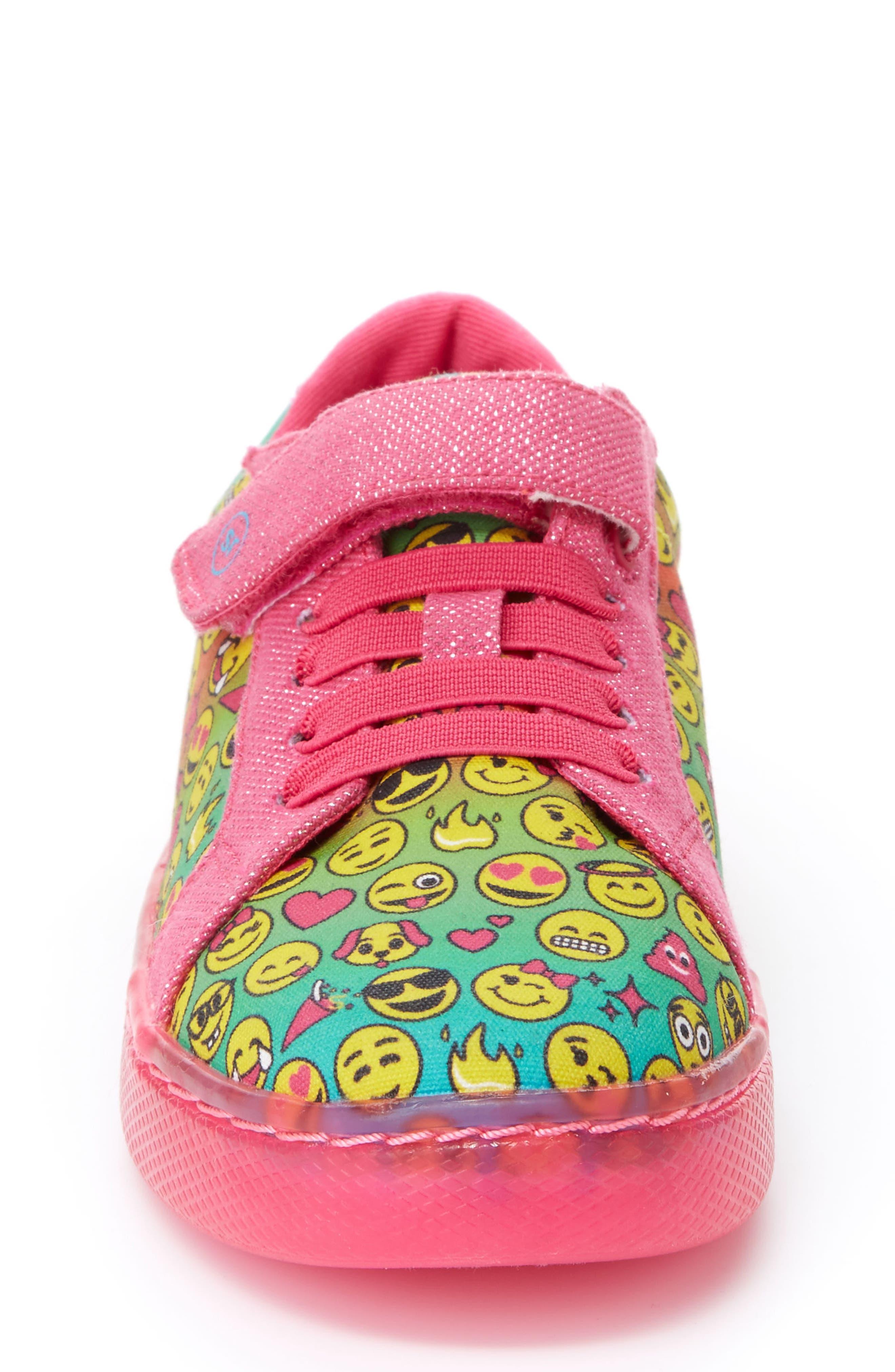 Raz Emoji Light-Up Sneaker,                             Alternate thumbnail 4, color,                             650