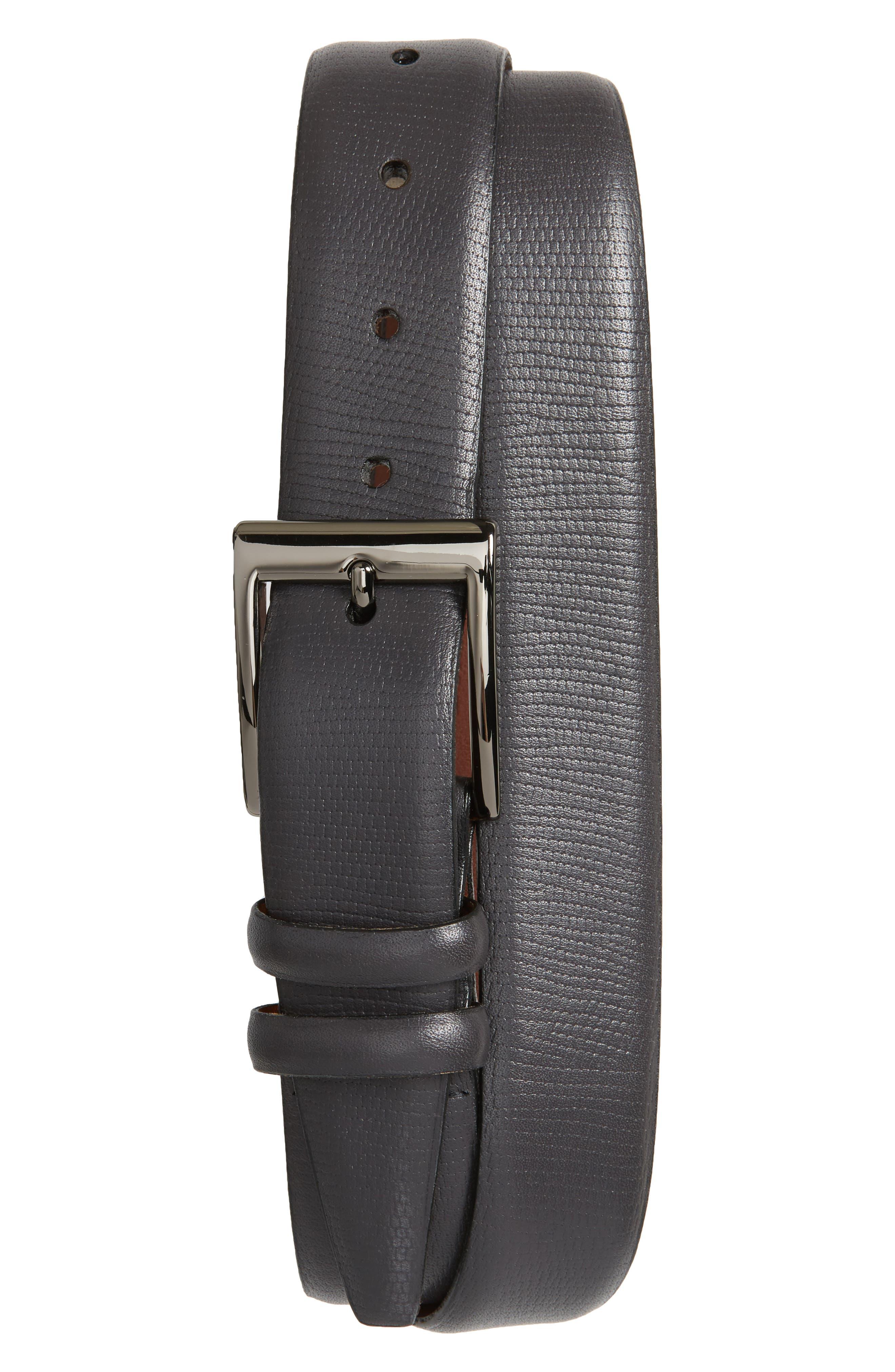 Torino Belts Lizard Embossed Leather Belt, Grey