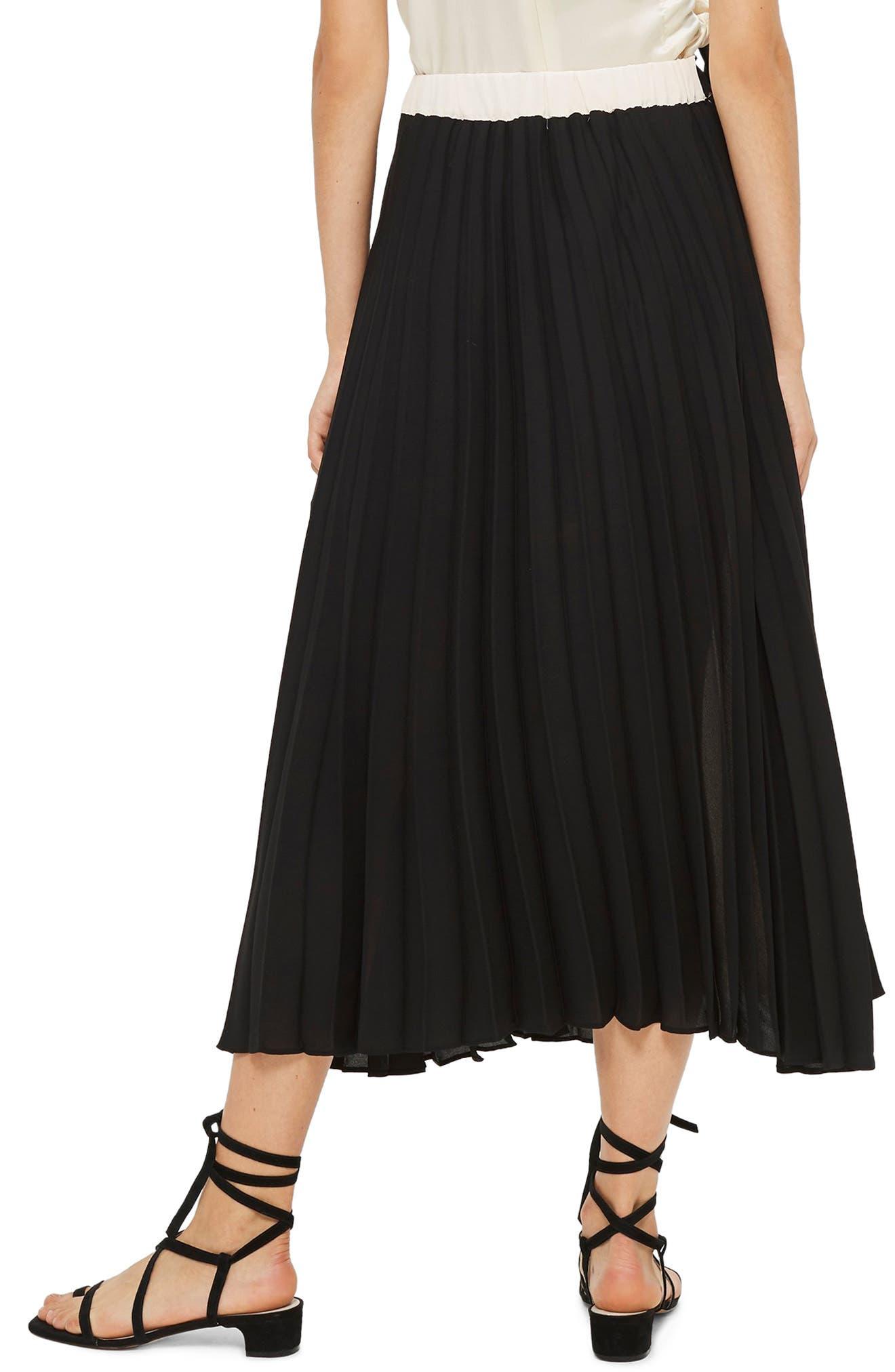 Colorblock Pleated Midi Skirt,                             Alternate thumbnail 2, color,                             BLACK MULTI