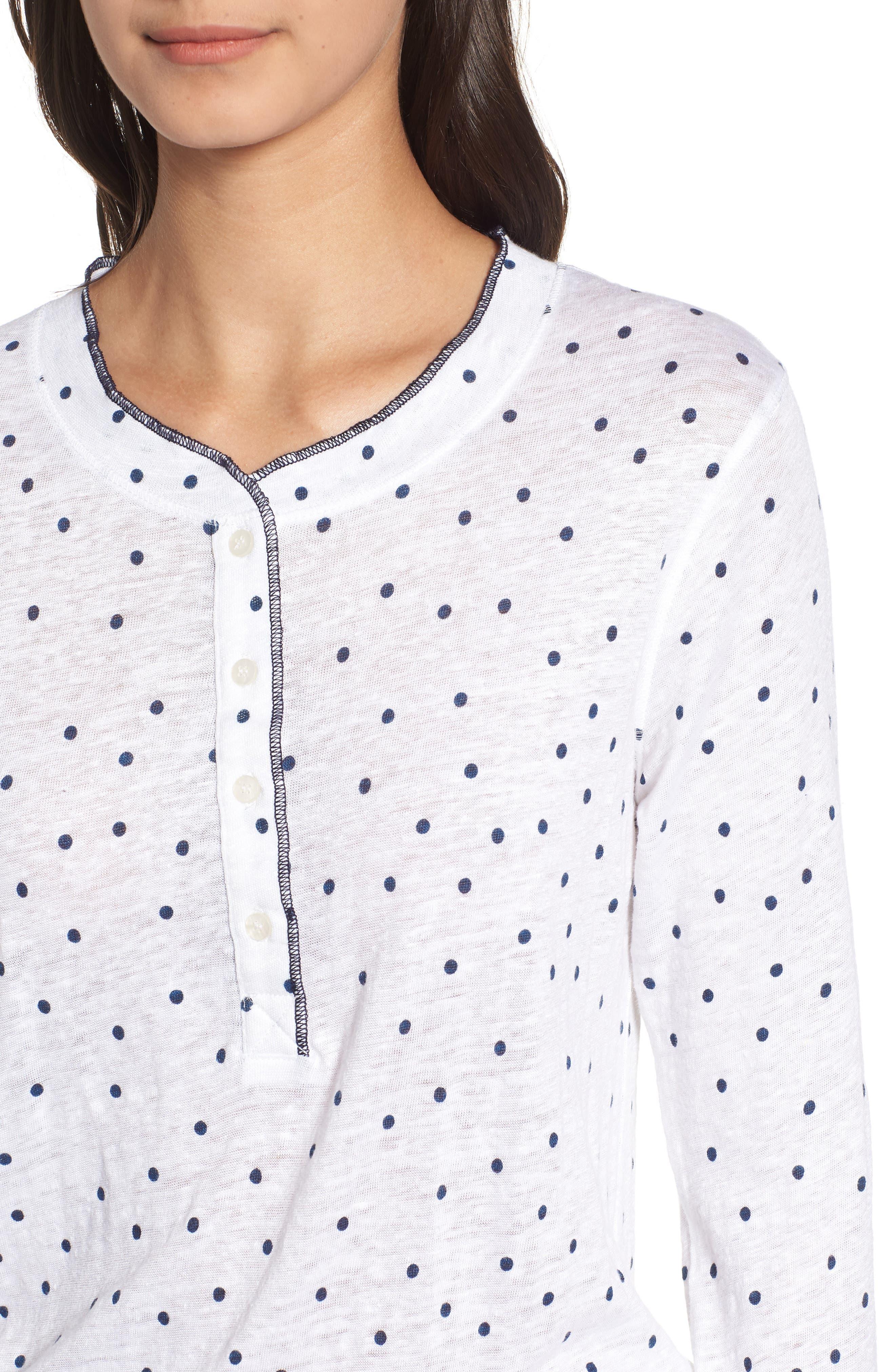 Dot Linen Henley Shirt,                             Alternate thumbnail 4, color,                             410