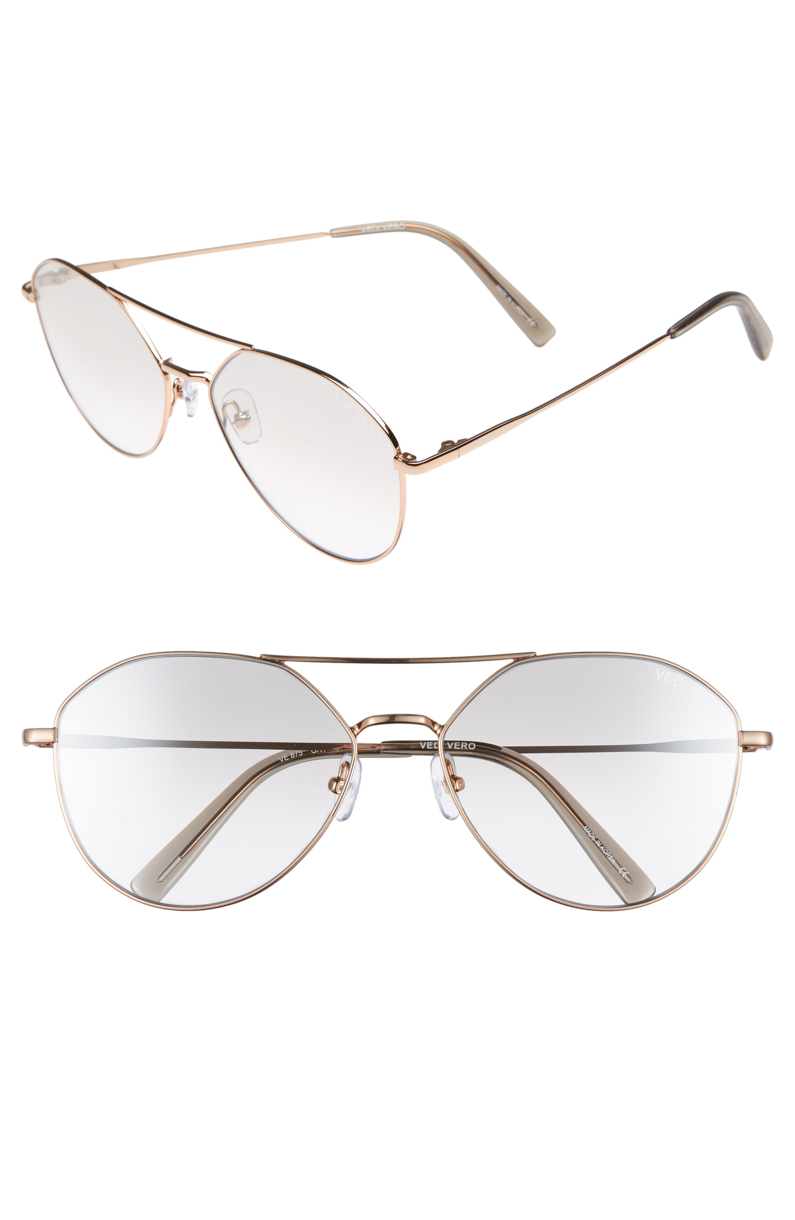 VEDI VERO 60Mm Aviator Sunglasses - Shiny Rose Gold