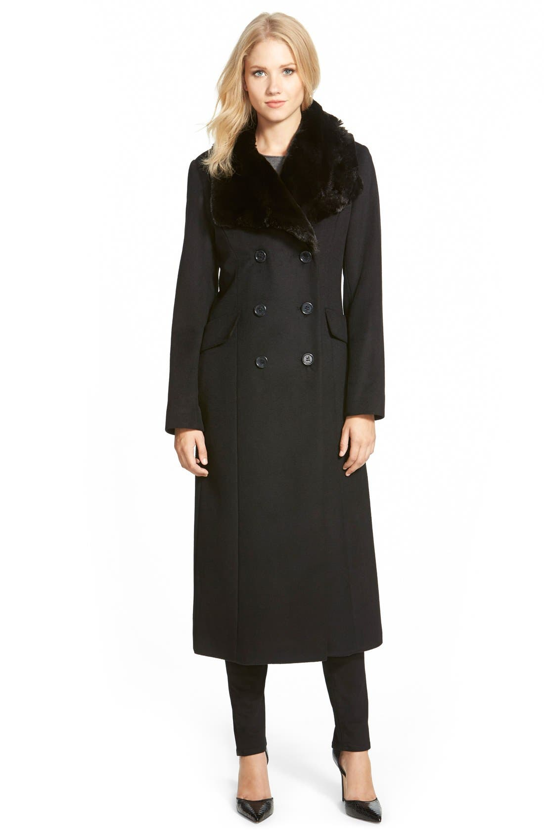 Long Wool Blend Coat with Faux Fur Collar, Main, color, 001