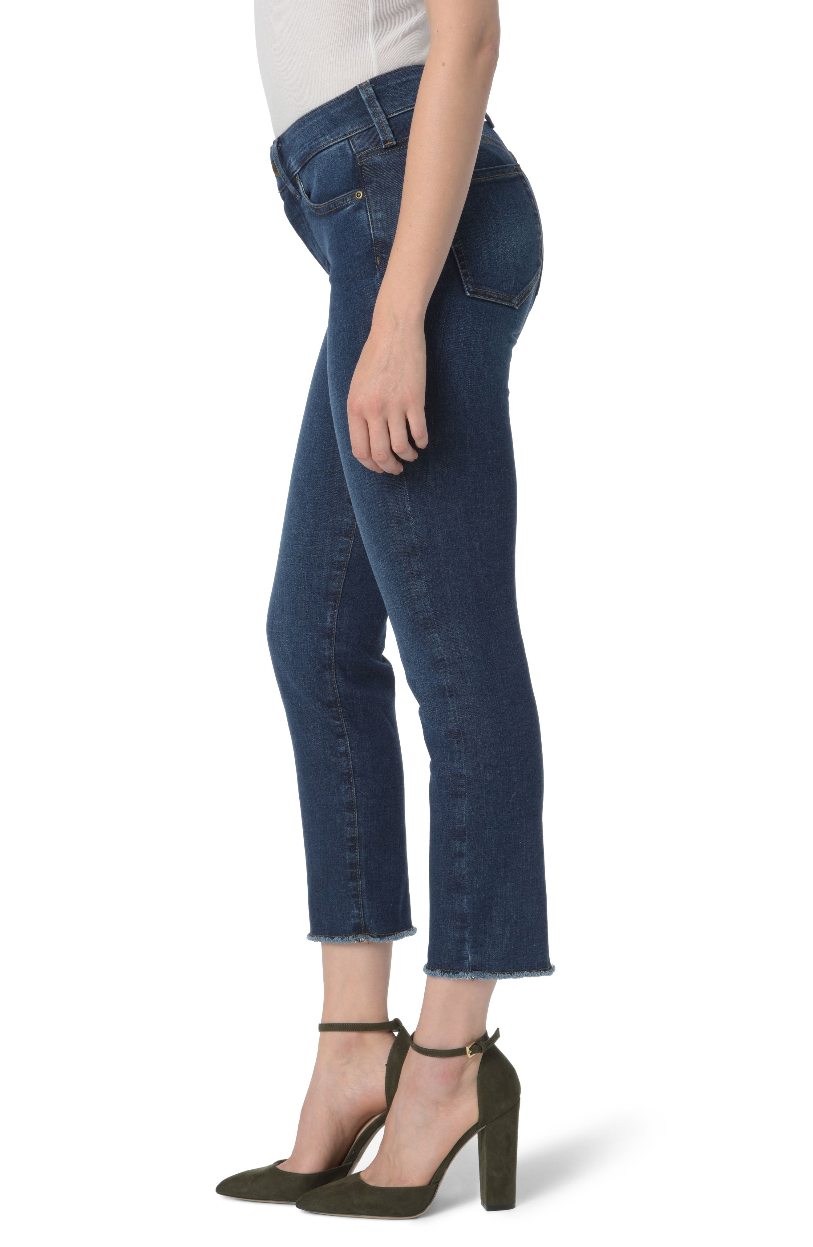 Sheri High Waist Frayed Hem Slim Ankle Jeans,                             Alternate thumbnail 3, color,                             COOPER