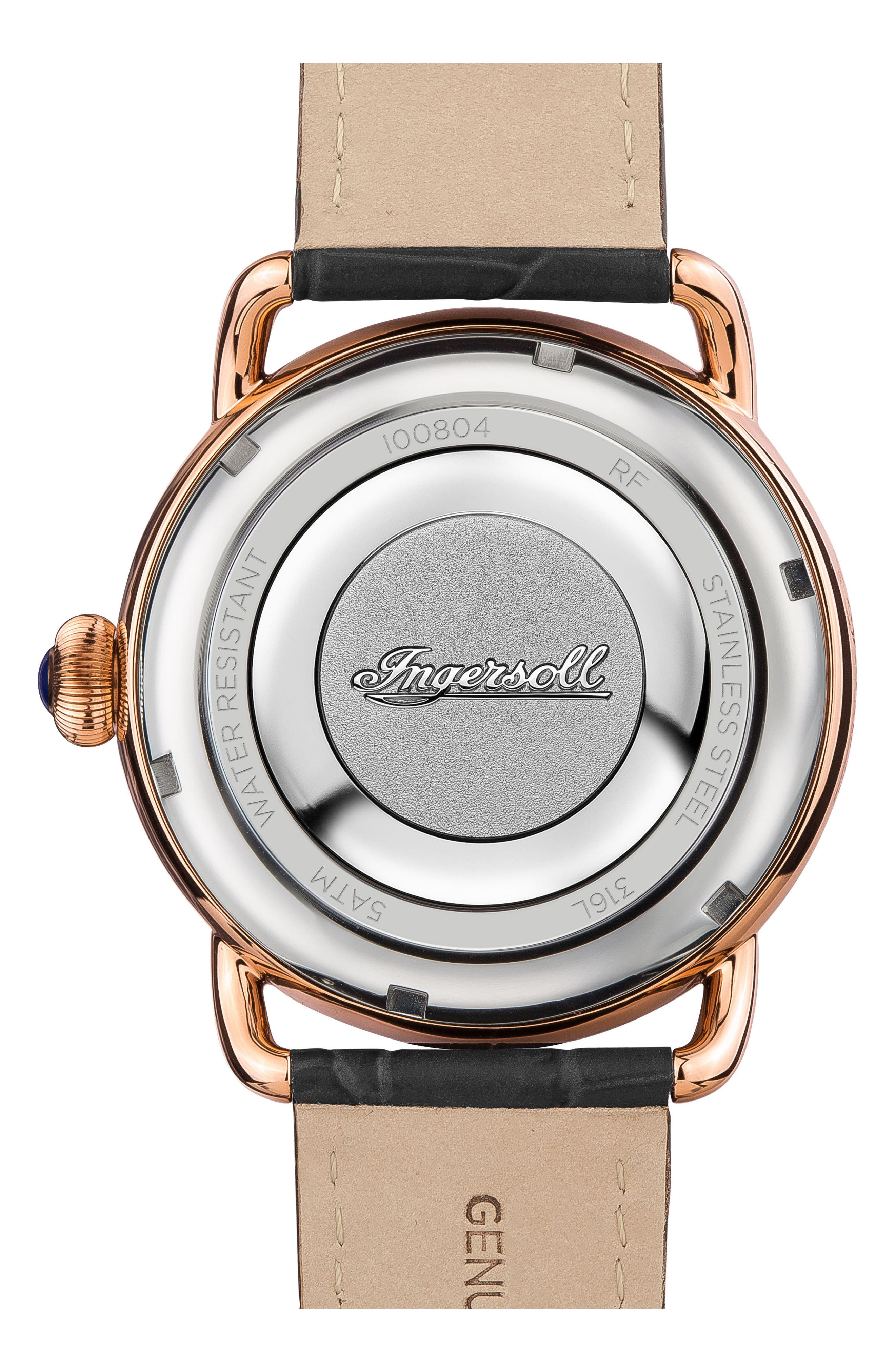 Ingersoll New England Leather Strap Watch, 42mm,                             Alternate thumbnail 6, color,
