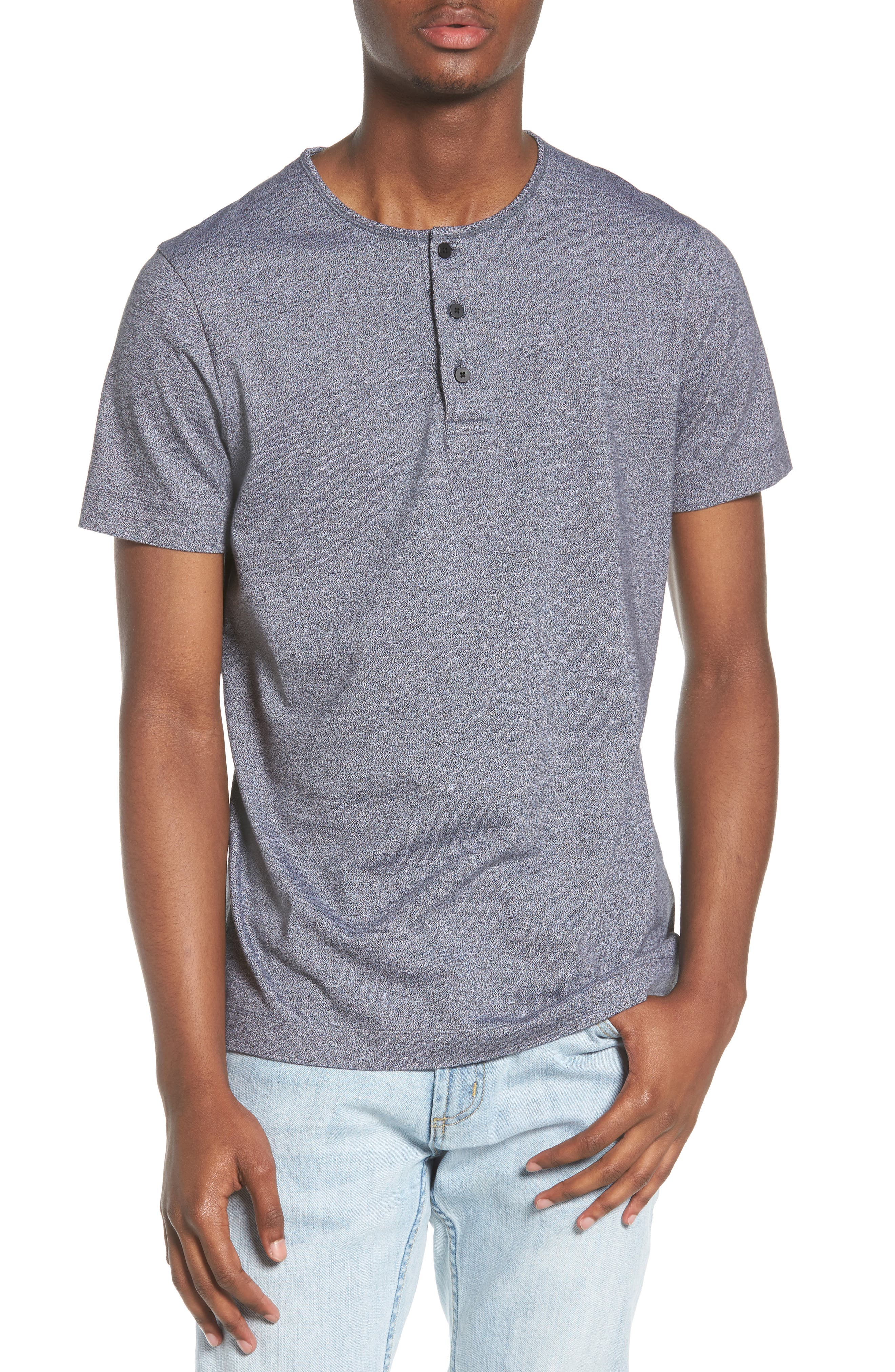 Marled Jersey Henley,                         Main,                         color, HEATHER CHARCOAL