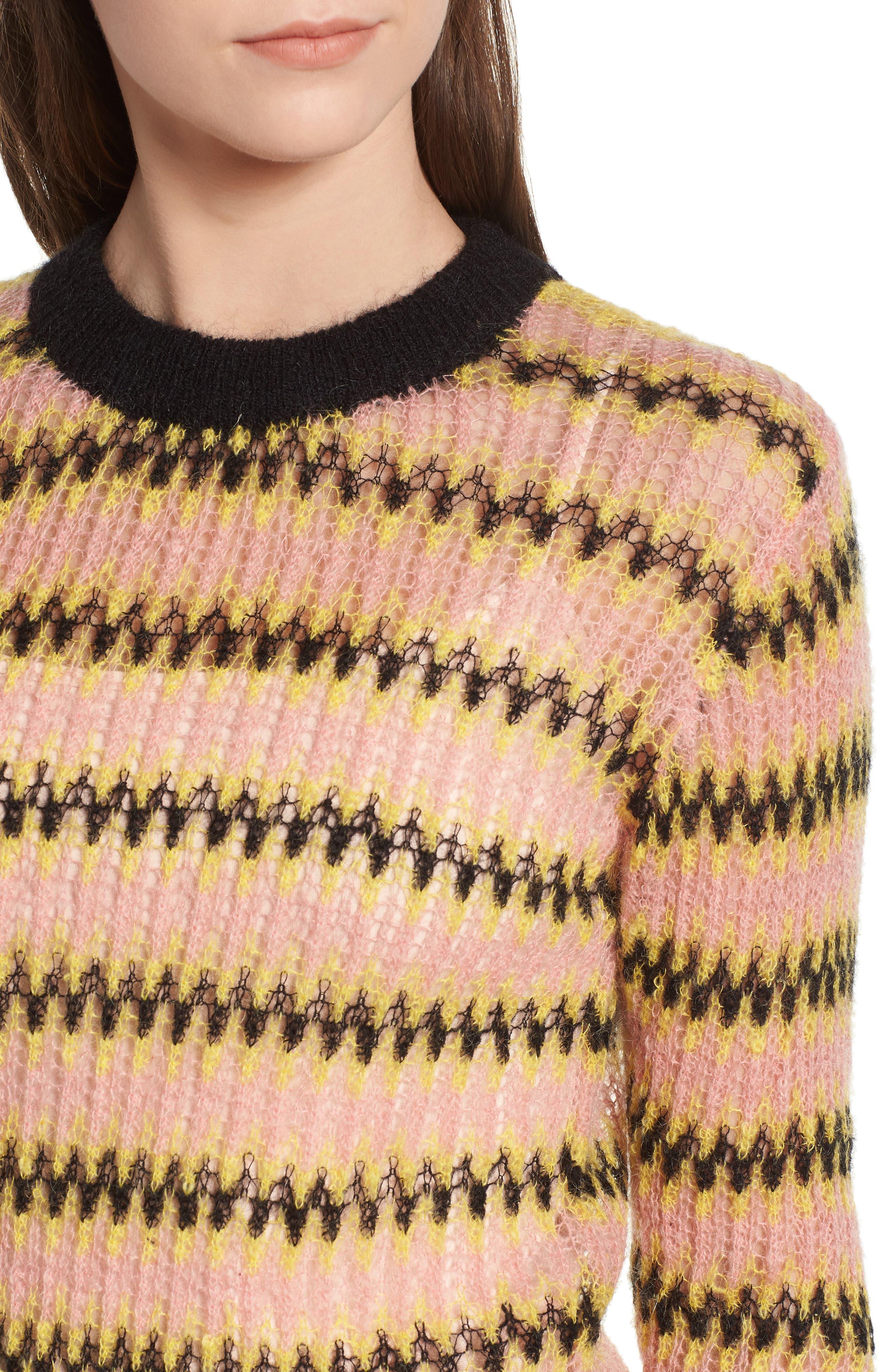 Zig Zag Wool Blend Sweater,                             Alternate thumbnail 4, color,                             MULTI PINK YELLOW ZIGZAG PRINT