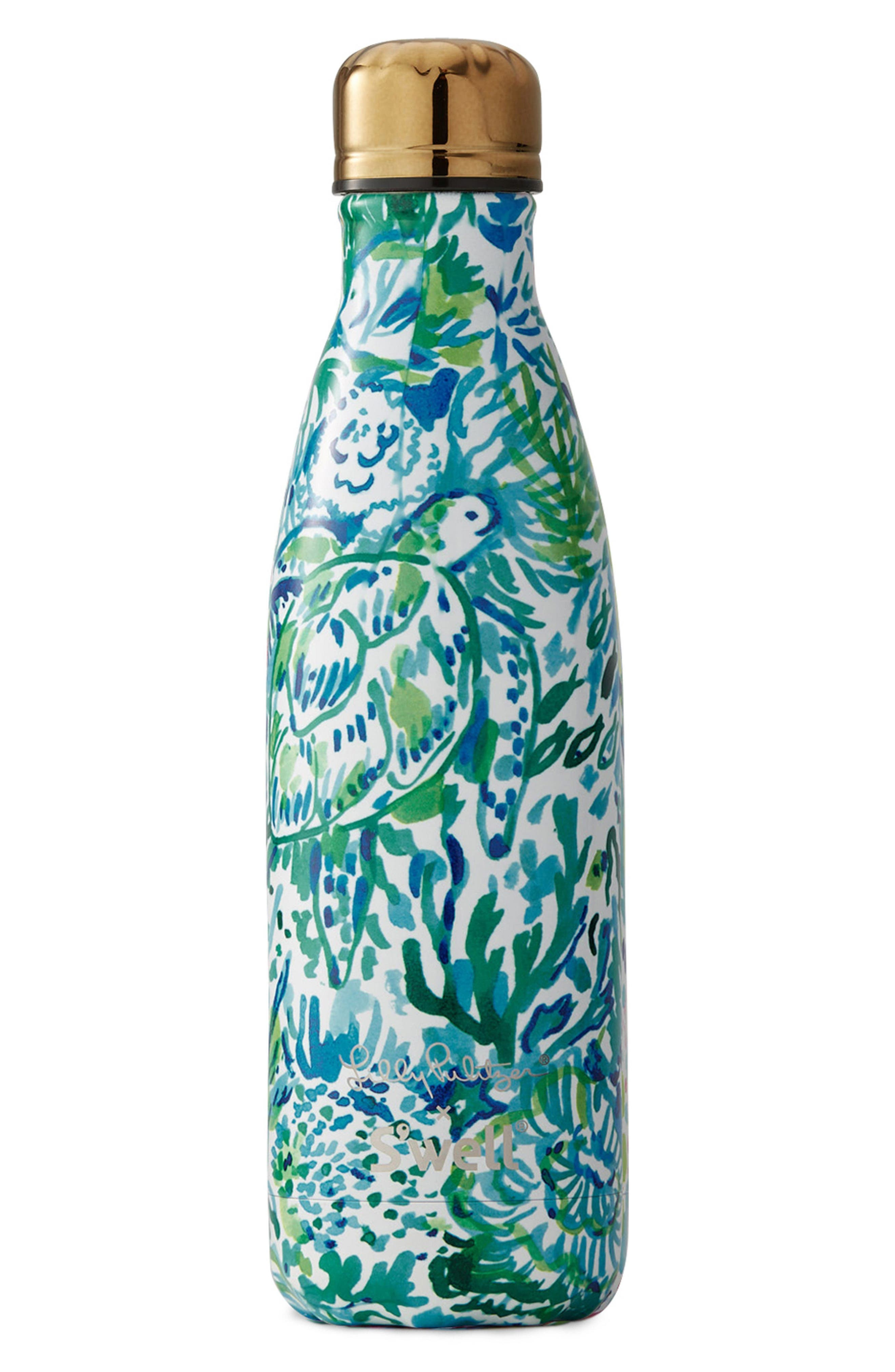x Lilly Pulitzer<sup>®</sup> Race to the Wave 17-Ounce Stainless Steel Water Bottle,                             Main thumbnail 1, color,                             100