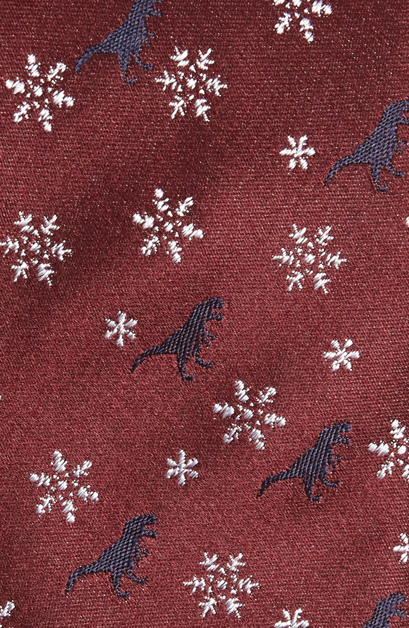 Dino Holiday Silk Tie,                             Alternate thumbnail 2, color,                             BURGUNDY