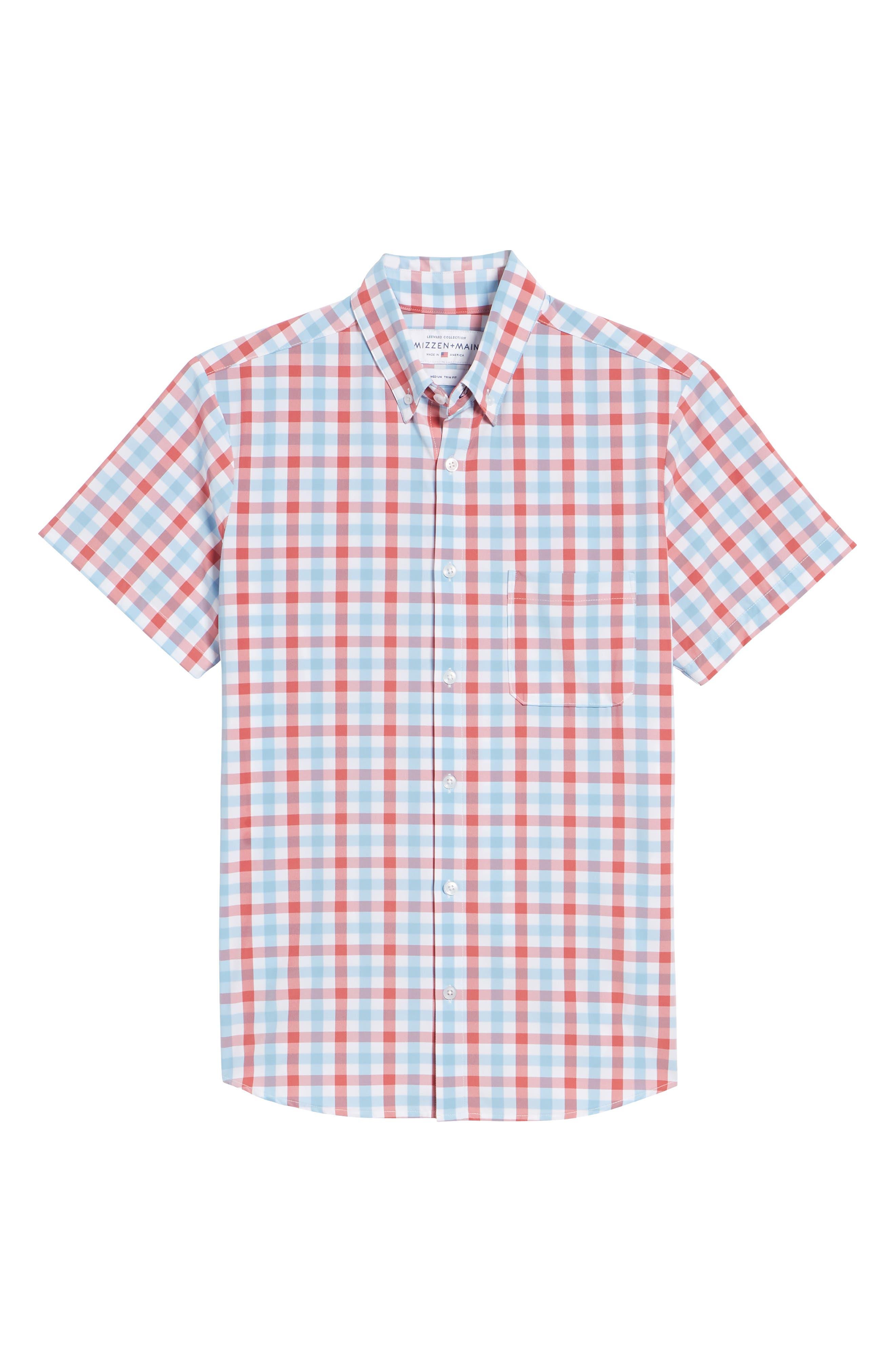 MIZZEN+MAIN,                             Revere Slim Fit Tattersall Performance Sport Shirt,                             Alternate thumbnail 6, color,                             649