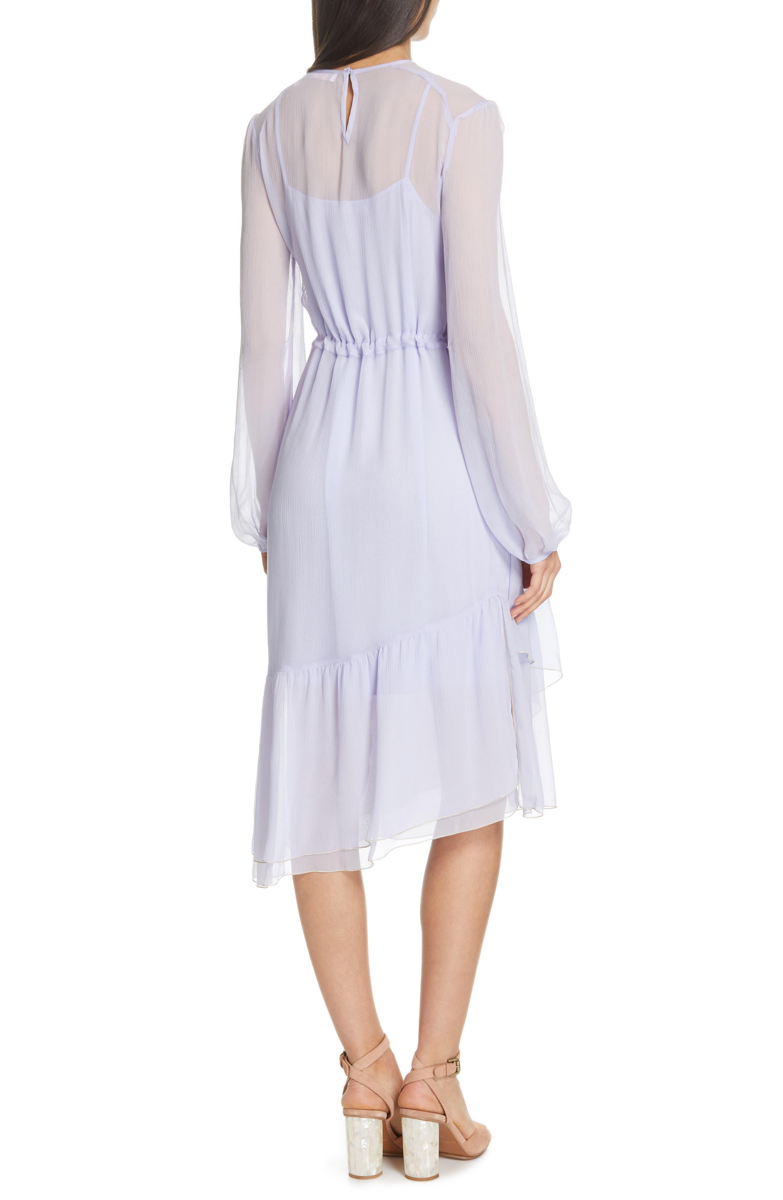 Asymmetrical Silk Midi Dress,                             Alternate thumbnail 2, color,                             SOFTY LILAC