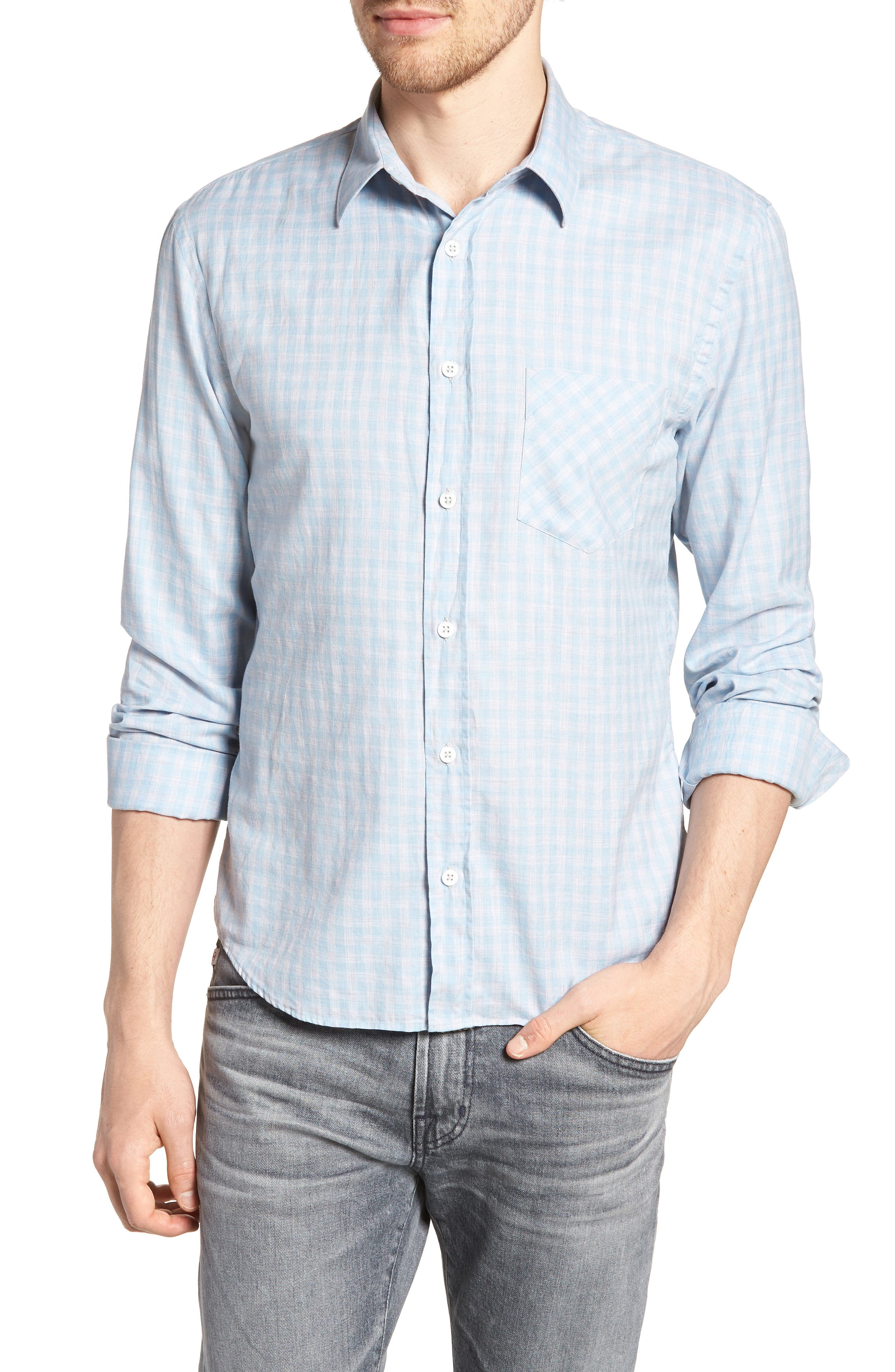 Kirby Slim Fit Check Sport Shirt,                         Main,                         color, BLUE/ GREY