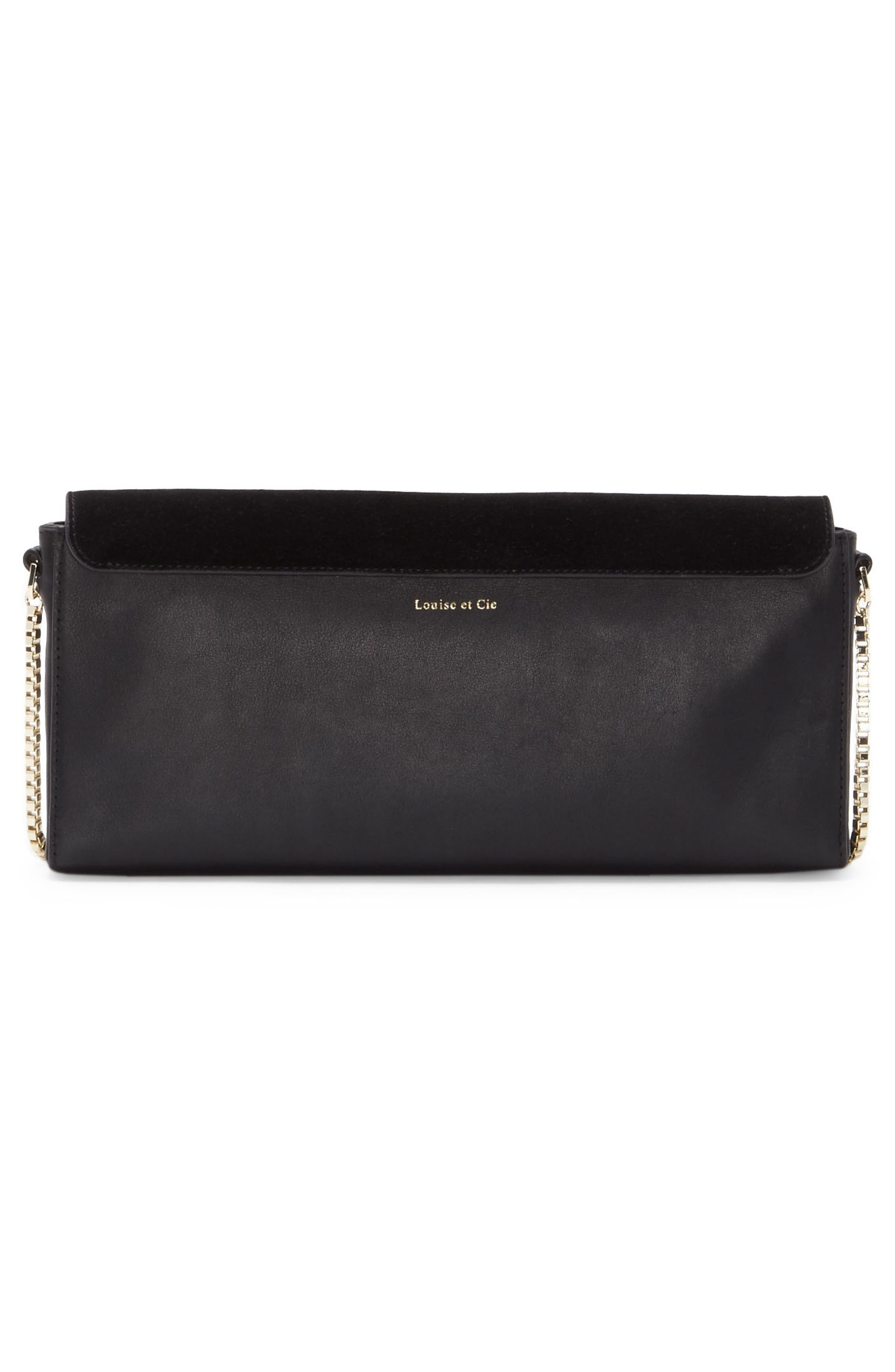 Gya Imitation Pearl Embellished Suede & Leather Clutch,                             Alternate thumbnail 2, color,                             001