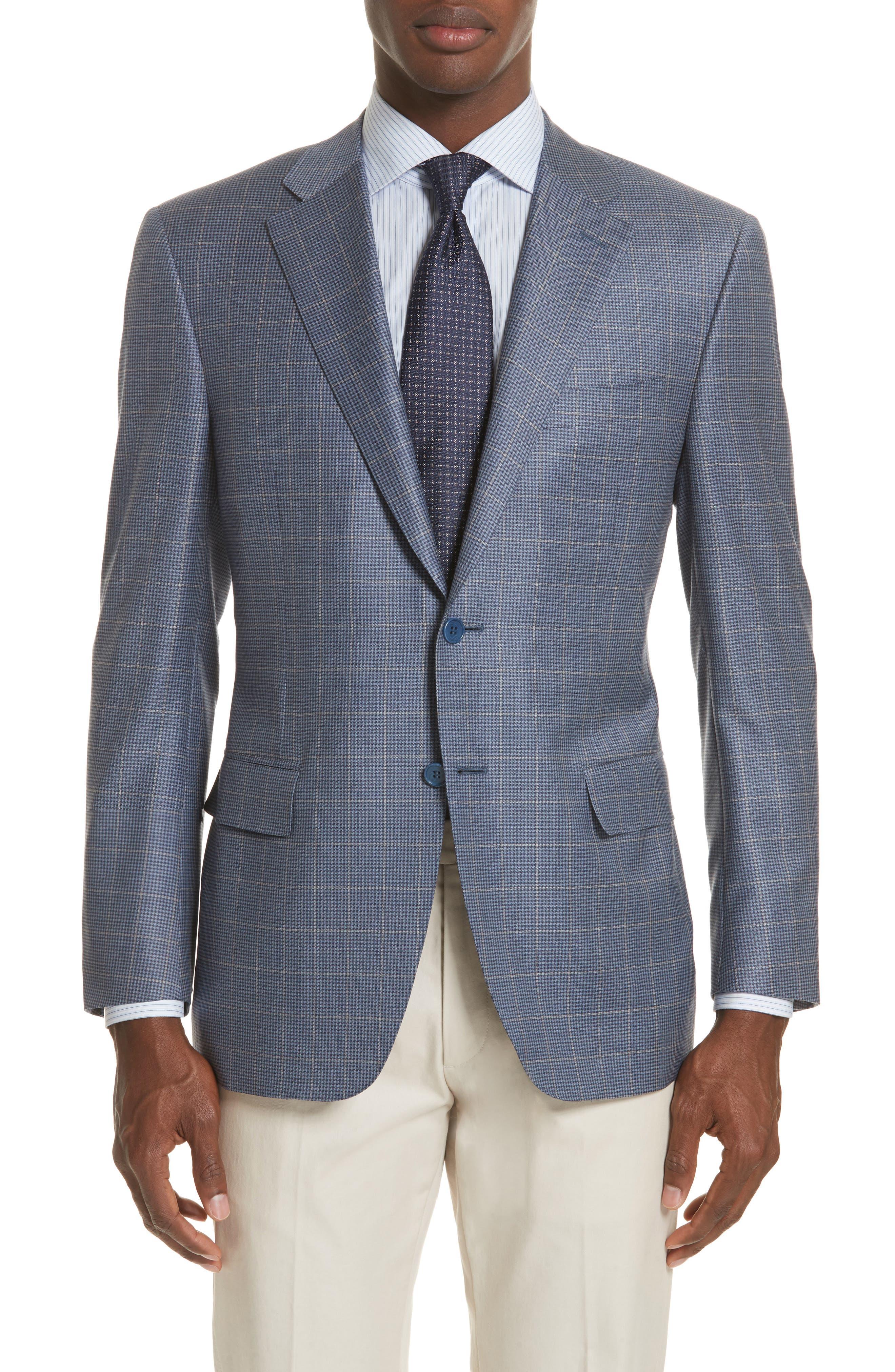 Classic Fit Windowpane Wool Sport Coat,                         Main,                         color, 400