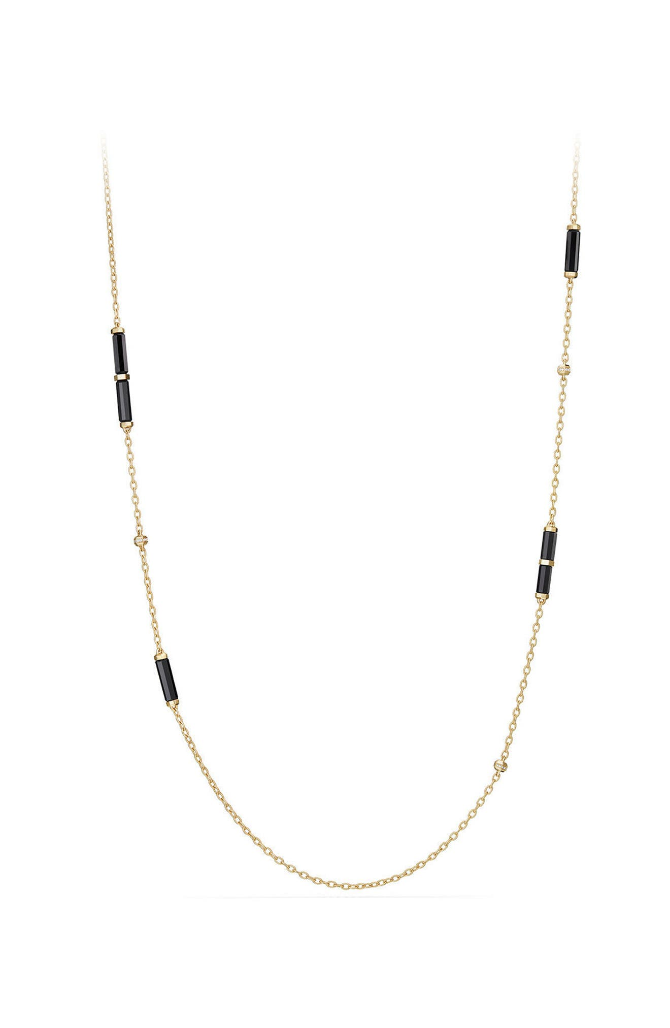 Barrels Long Station Necklace with Diamonds,                         Main,                         color, YELLOW GOLD