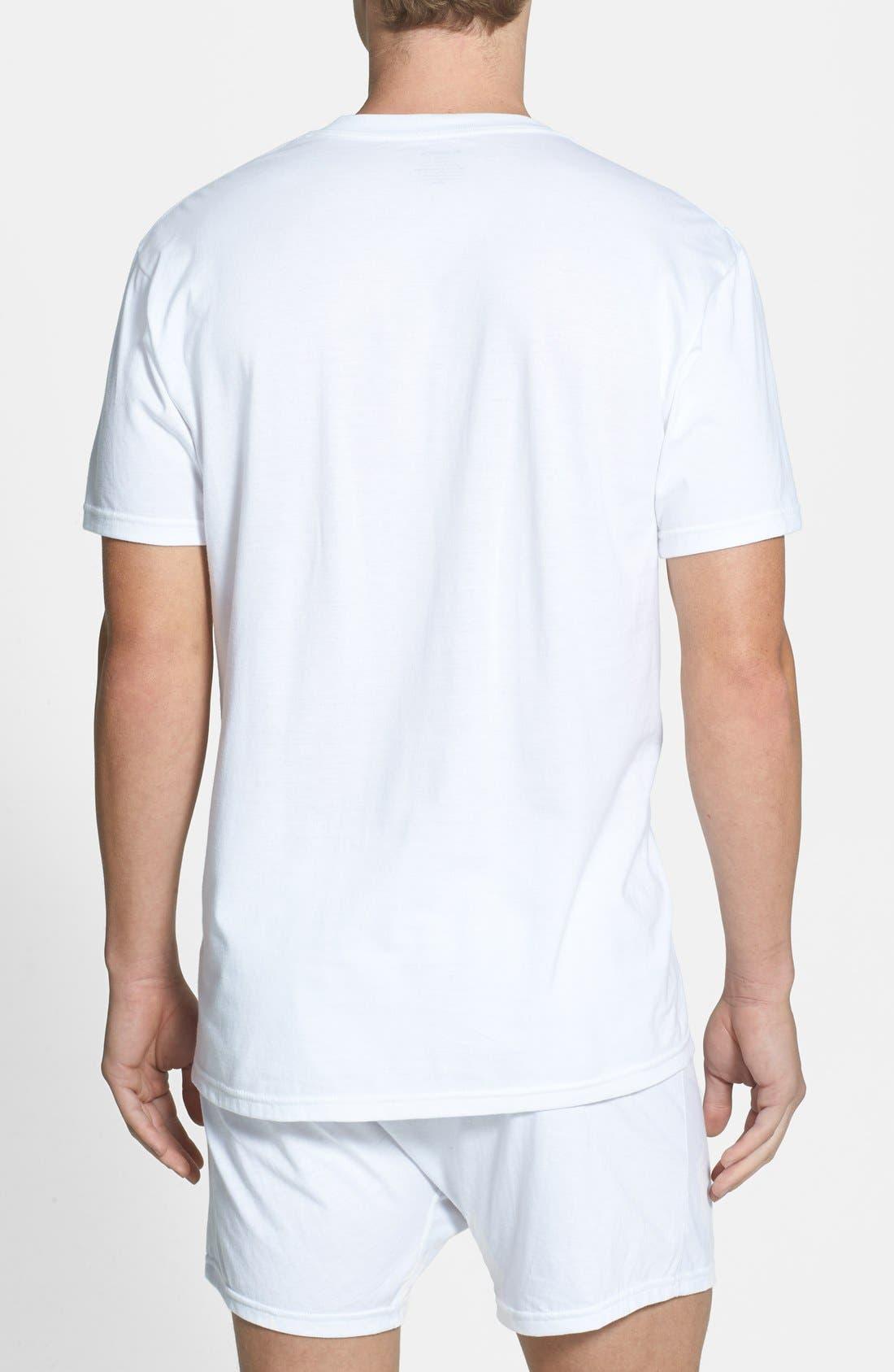 NORDSTROM MEN'S SHOP,                             Regular Fit 4-Pack Supima<sup>®</sup> Cotton T-Shirts,                             Alternate thumbnail 8, color,                             WHITE