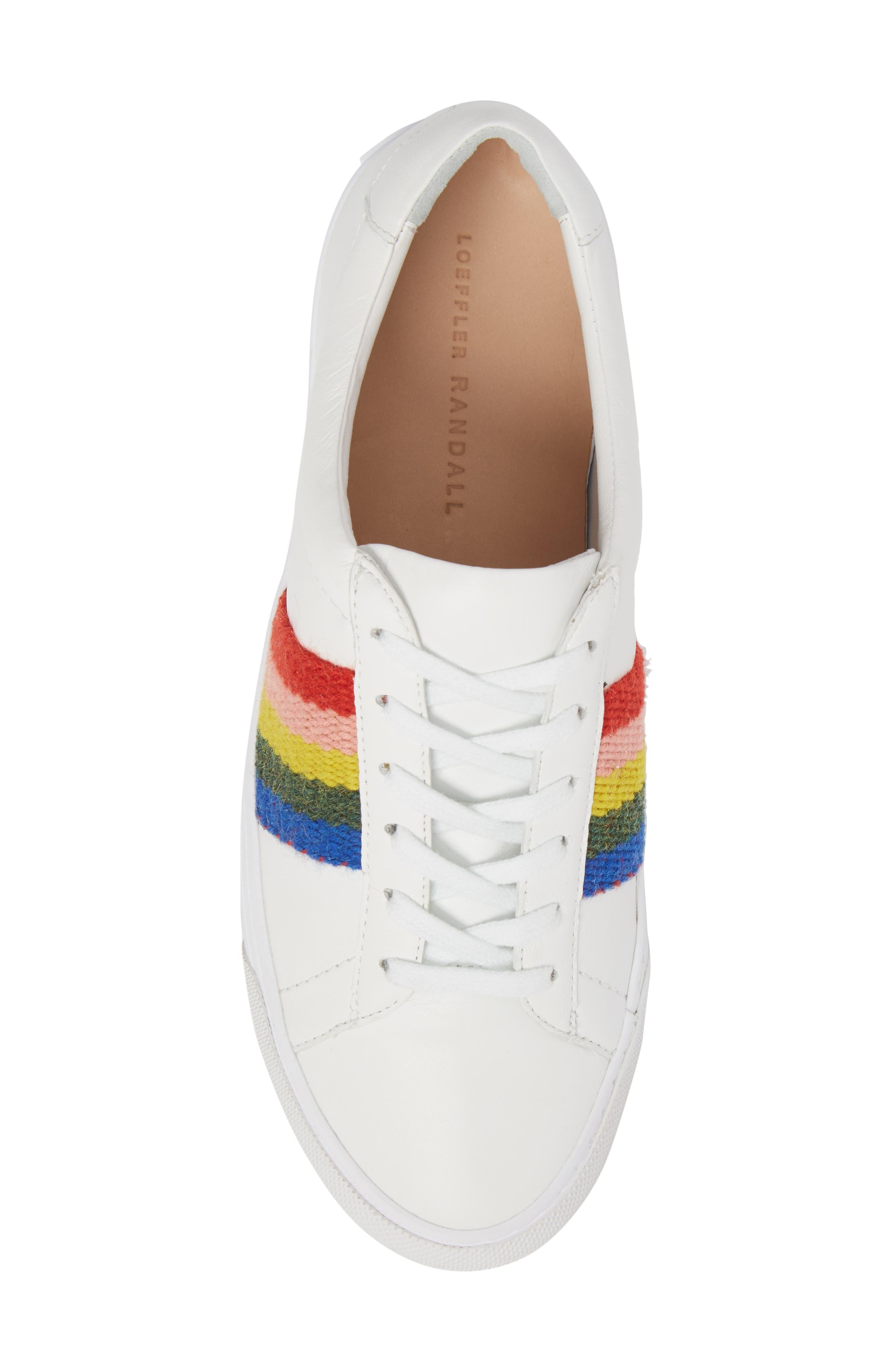Logan Rainbow Sneaker,                             Alternate thumbnail 5, color,                             WHITE/ RAINBOW