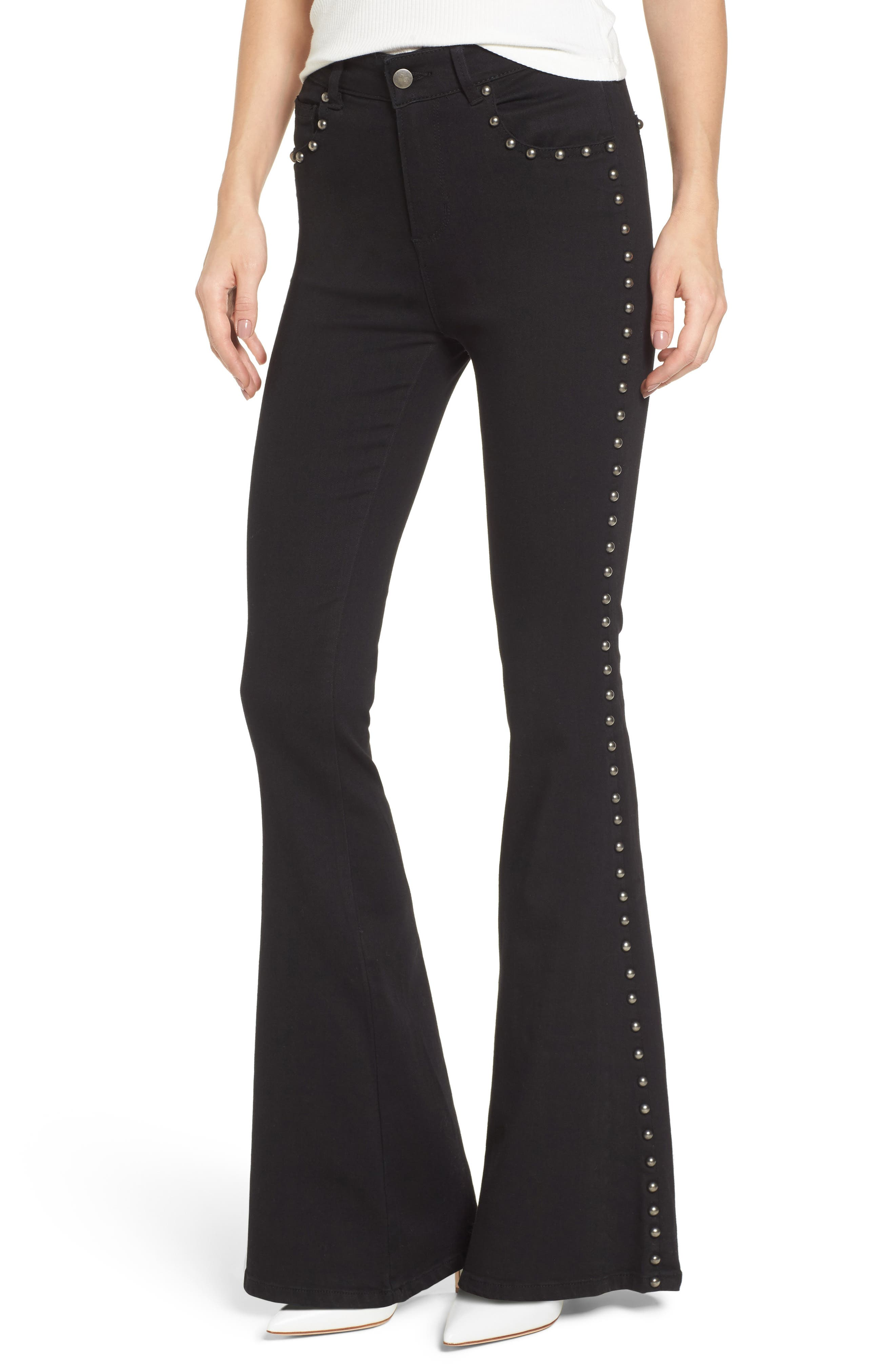 Stud Flare Jeans,                             Main thumbnail 1, color,                             001