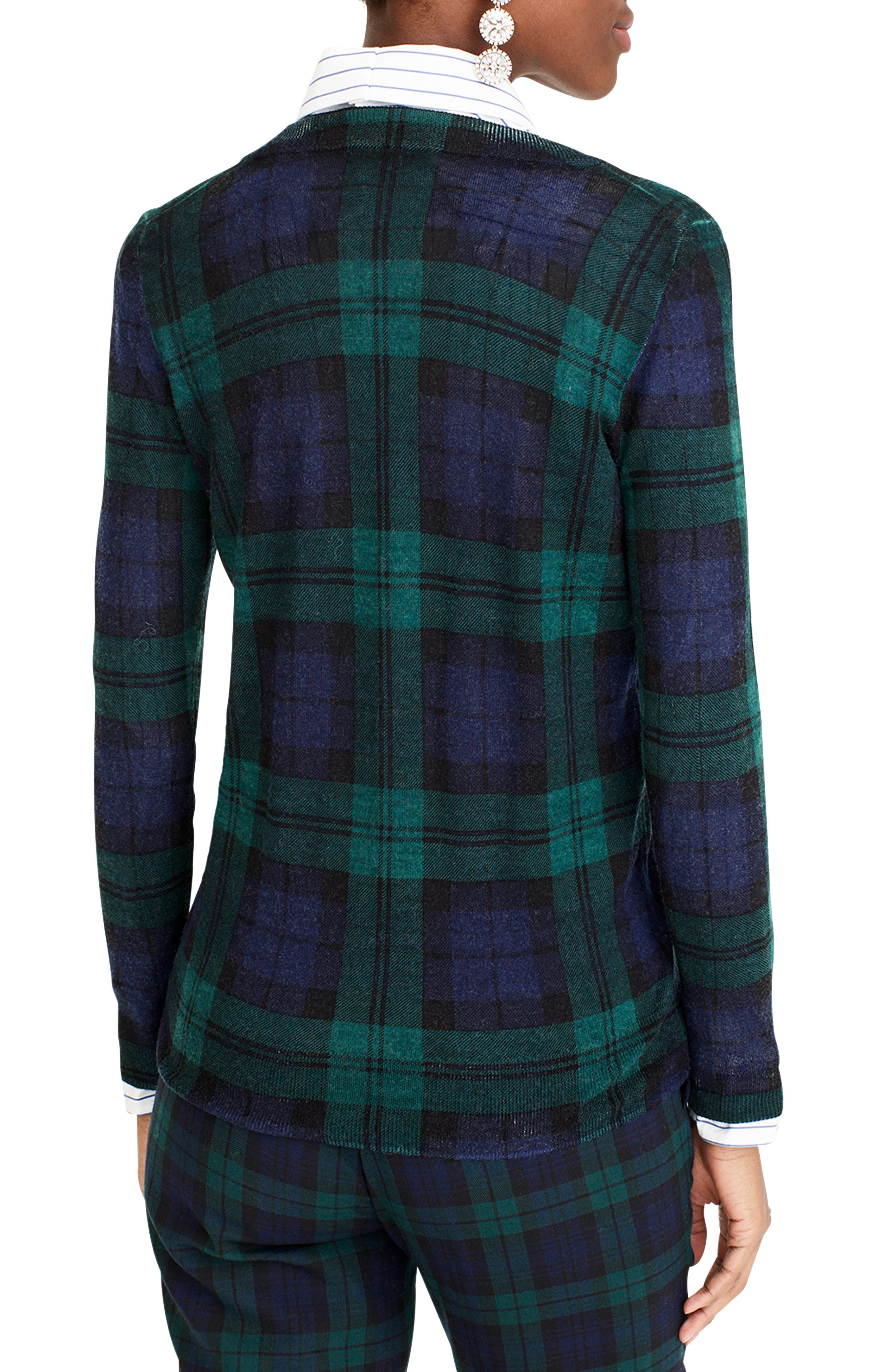 J.CREW,                             Blackwatch Plaid Tippi Sweater,                             Alternate thumbnail 2, color,                             009