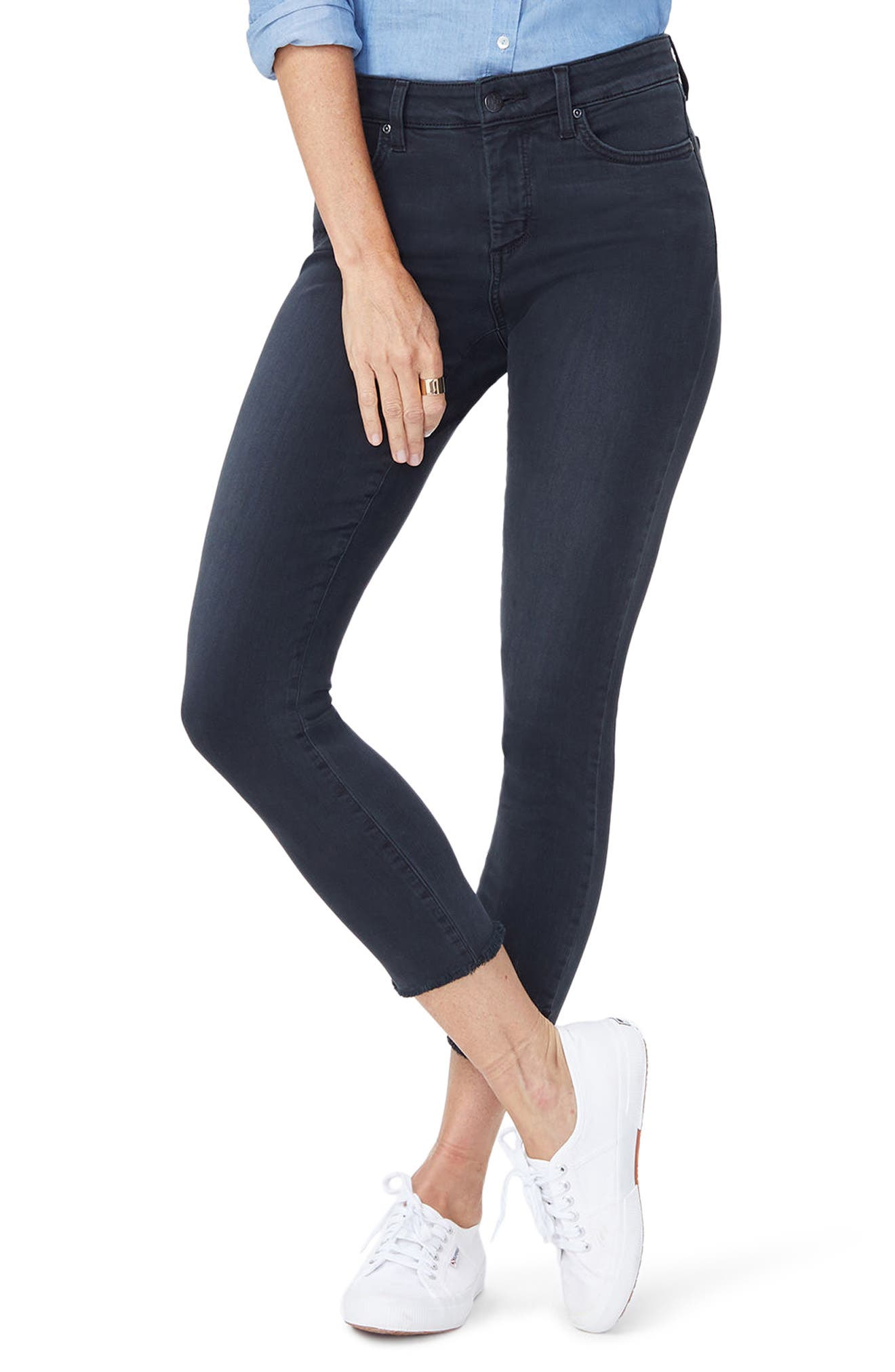 Ami Side Slit Fringe Hem Skinny Jeans,                             Main thumbnail 1, color,                             007