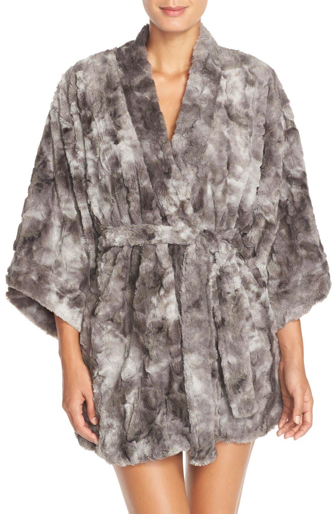 Faux Fur Robe,                             Main thumbnail 1, color,                             020
