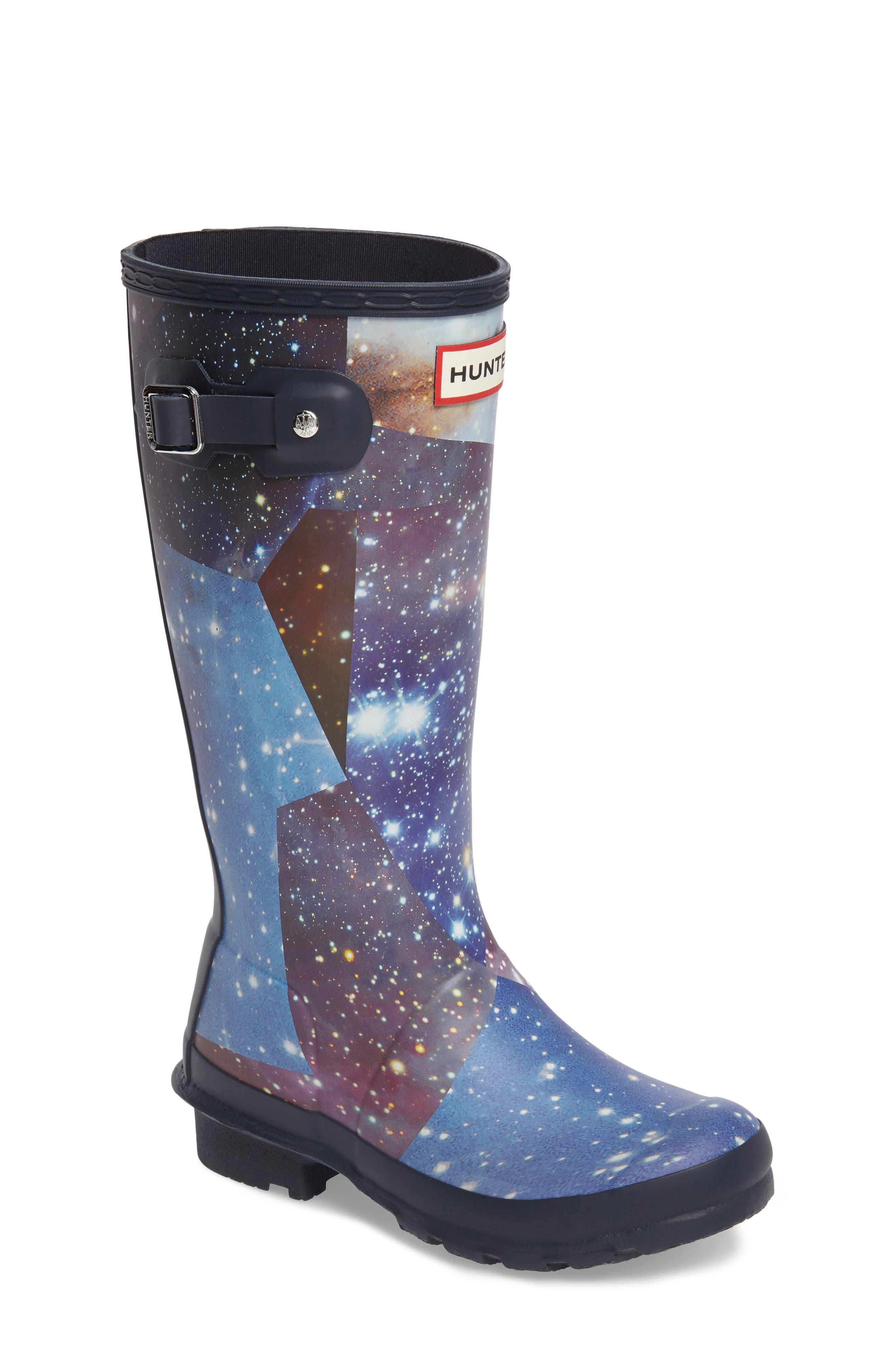 Space Camo Waterproof Rain Boot,                             Main thumbnail 1, color,