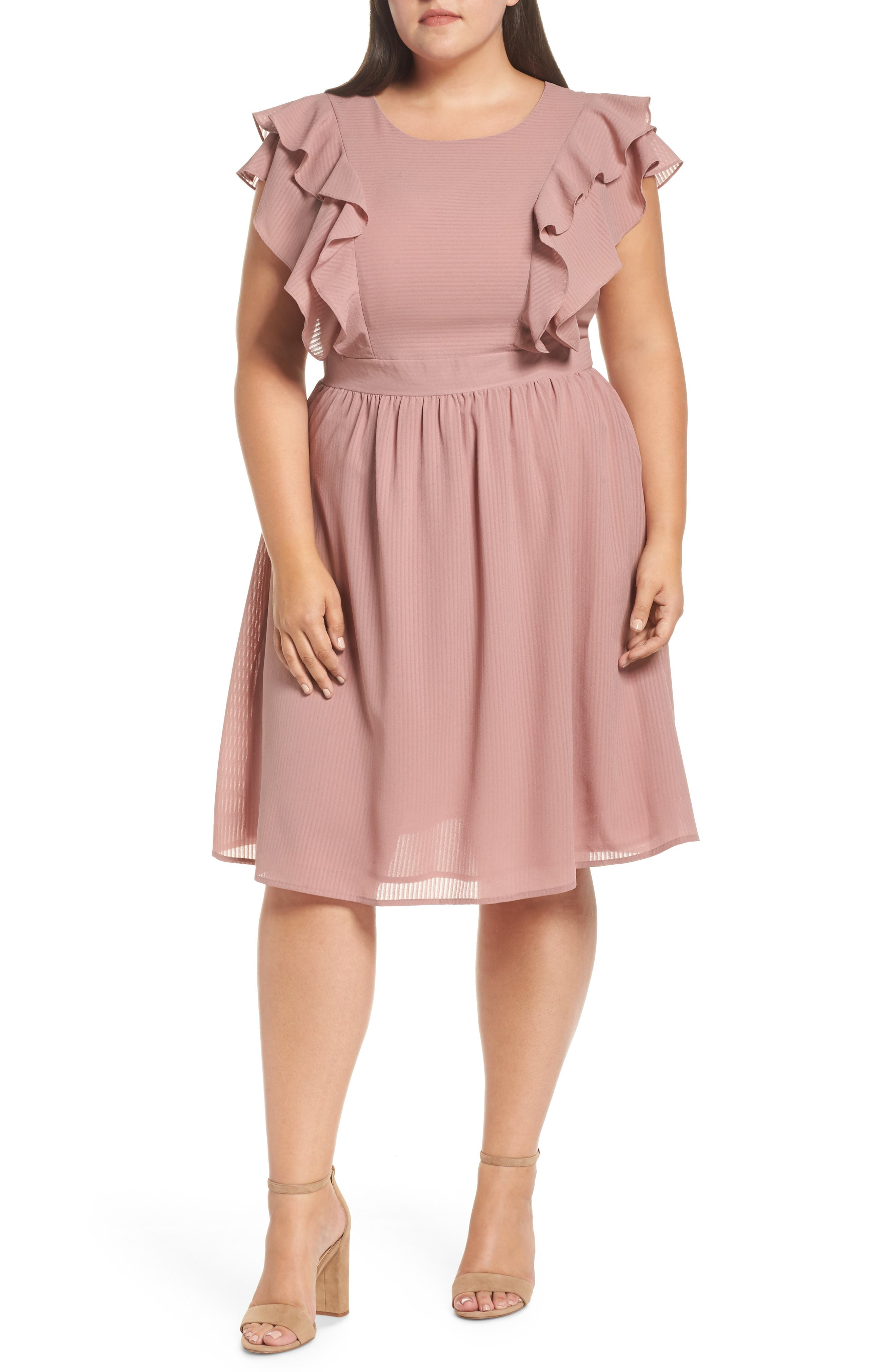 Ruffle Sleeve Fit & Flare Dress,                             Main thumbnail 1, color,                             681