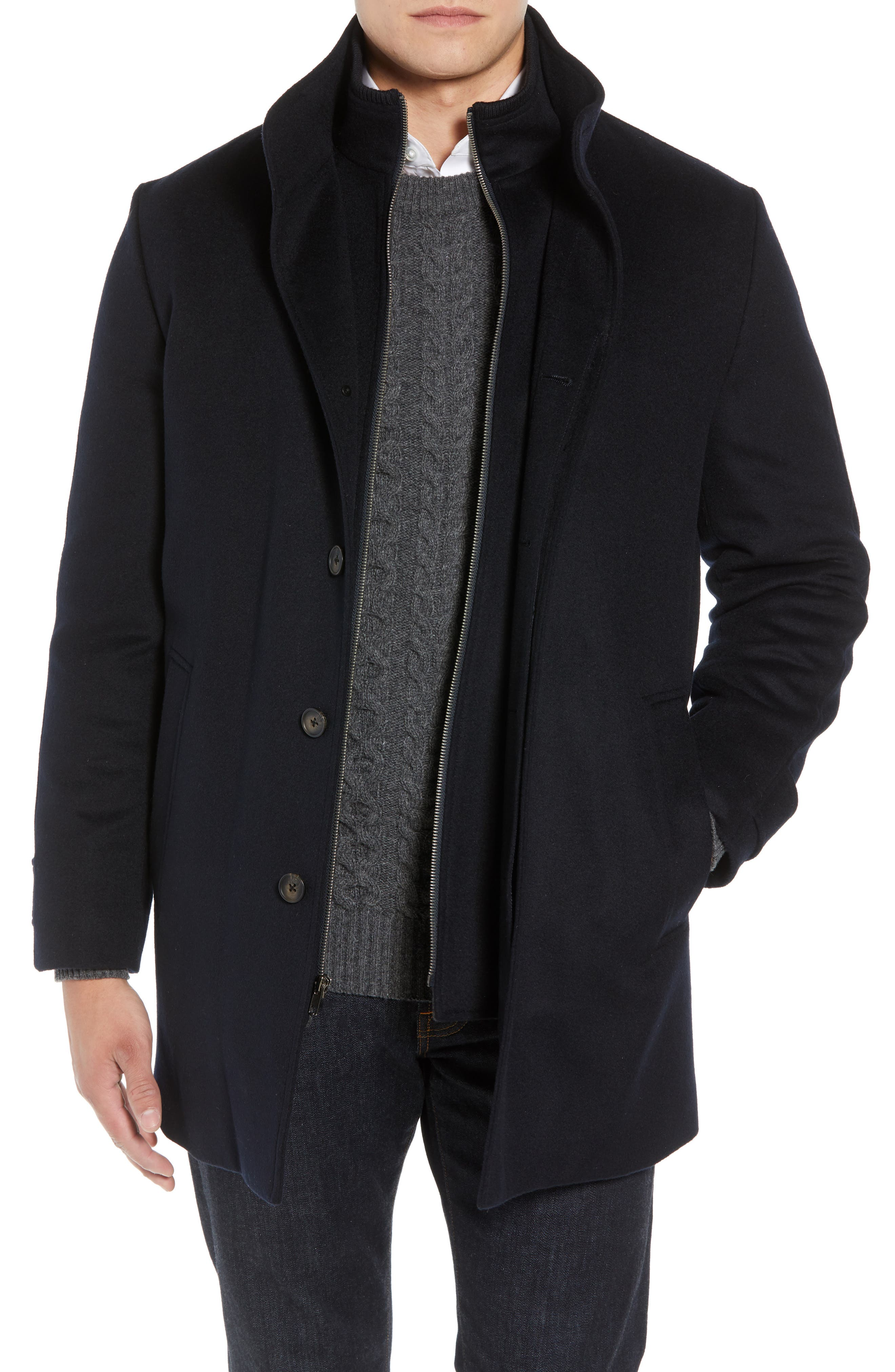 Men's John W. Nordstrom Hudson Wool Car Coat, Size Small - Blue