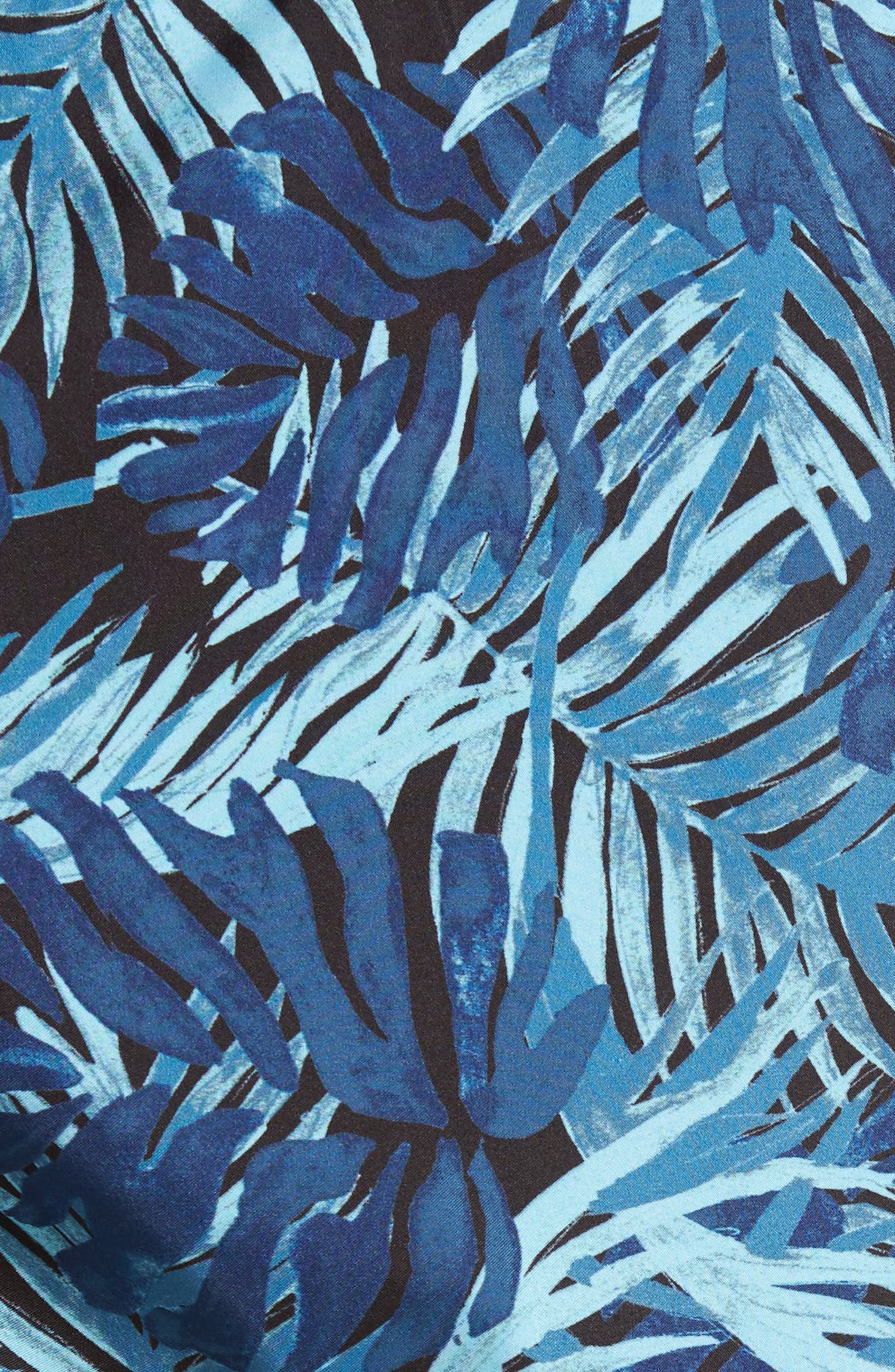 Mahina Madrague Print Packable Swim Trunks,                             Alternate thumbnail 5, color,                             NAVY BLUE