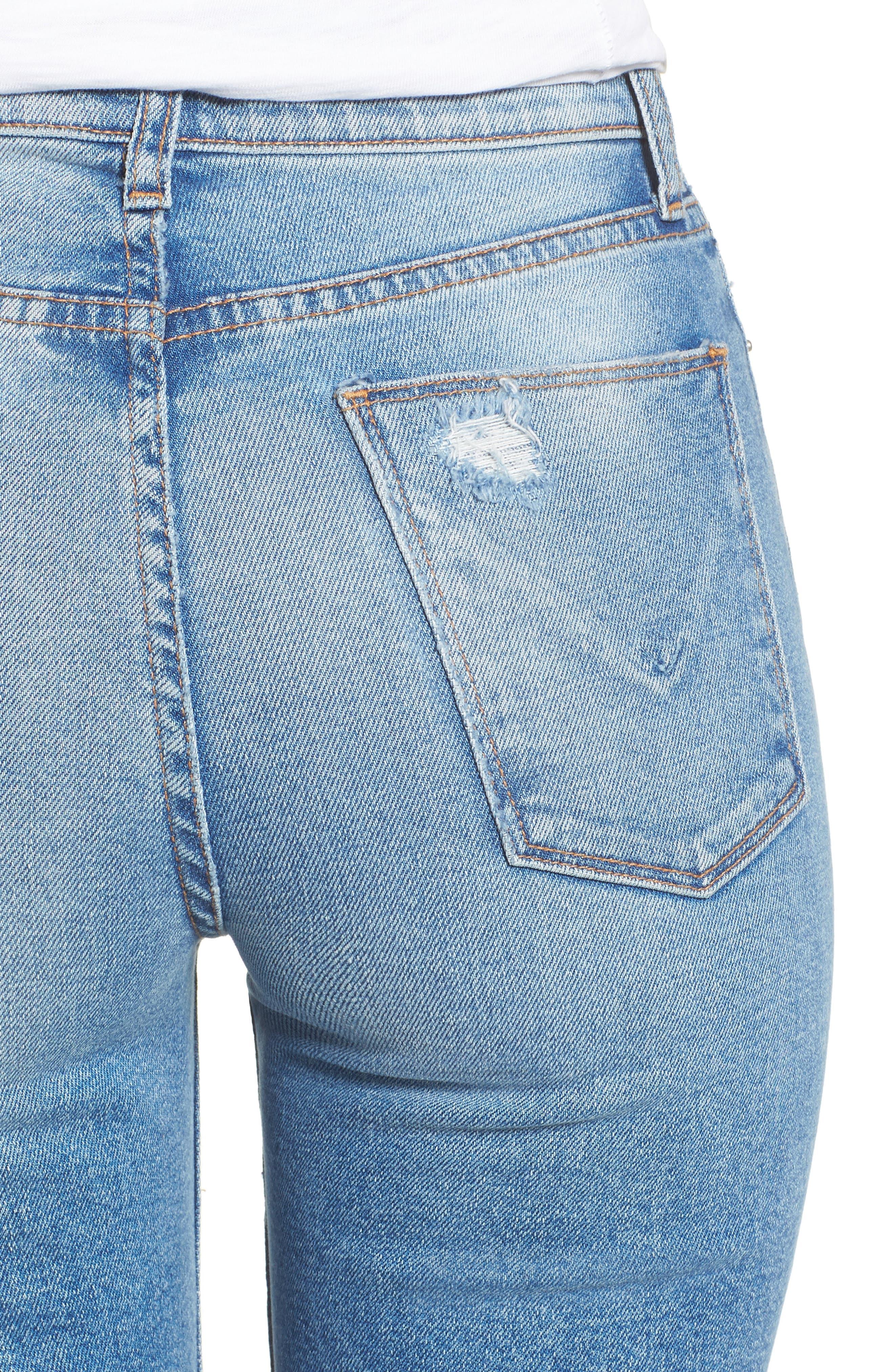 Zoeey High Waist Cuff Straight Leg Jeans,                             Alternate thumbnail 4, color,                             425