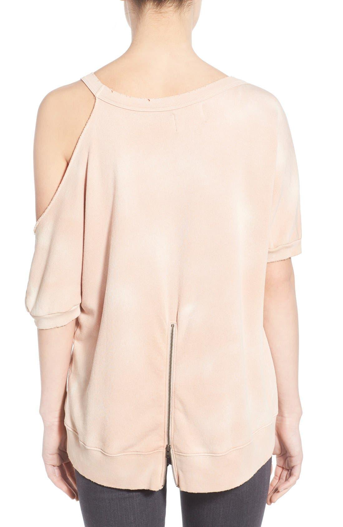 Distressed Open Shoulder Sweatshirt,                             Alternate thumbnail 6, color,
