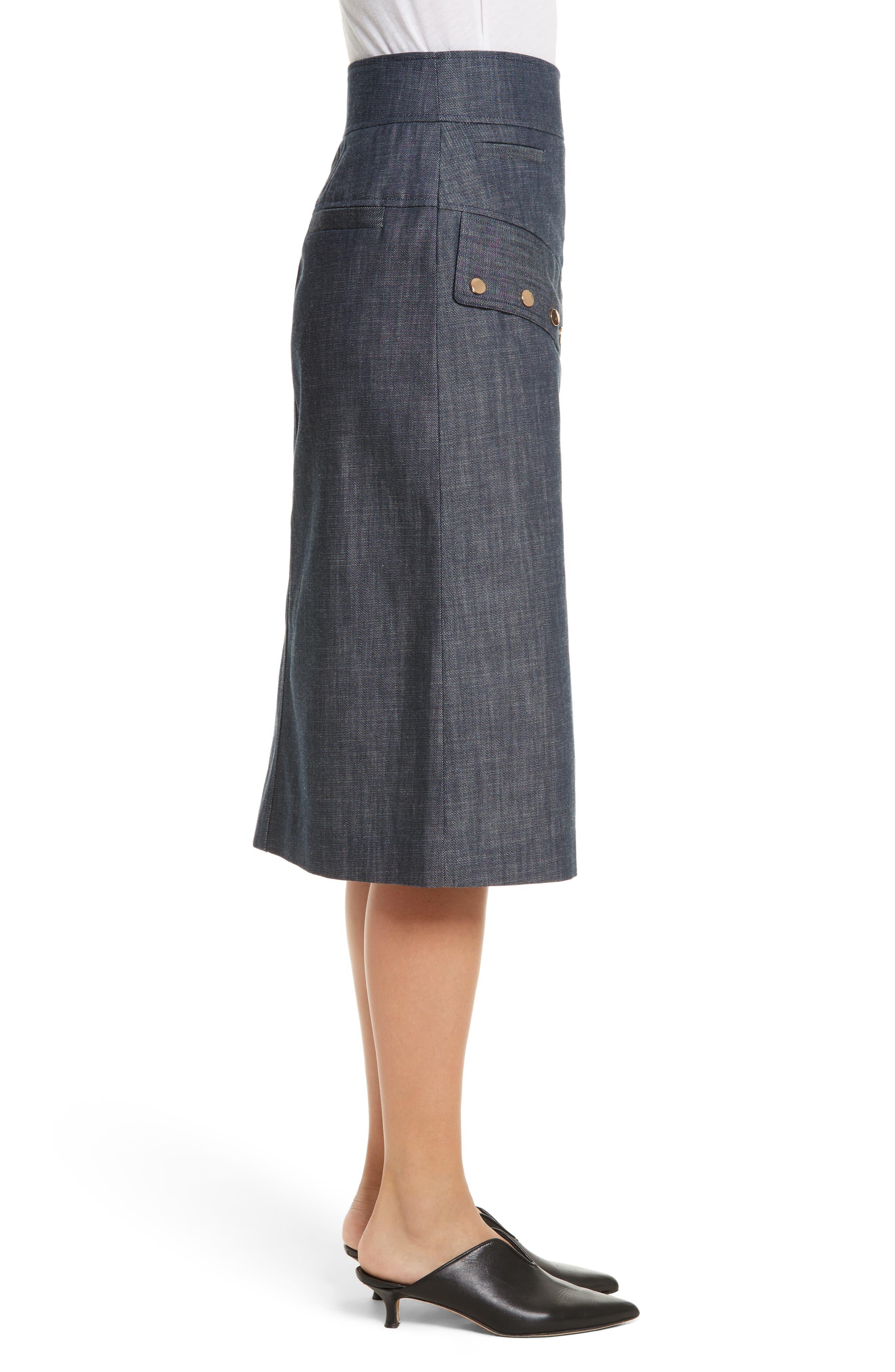 Snap Front Raw Denim Skirt,                             Alternate thumbnail 3, color,                             400