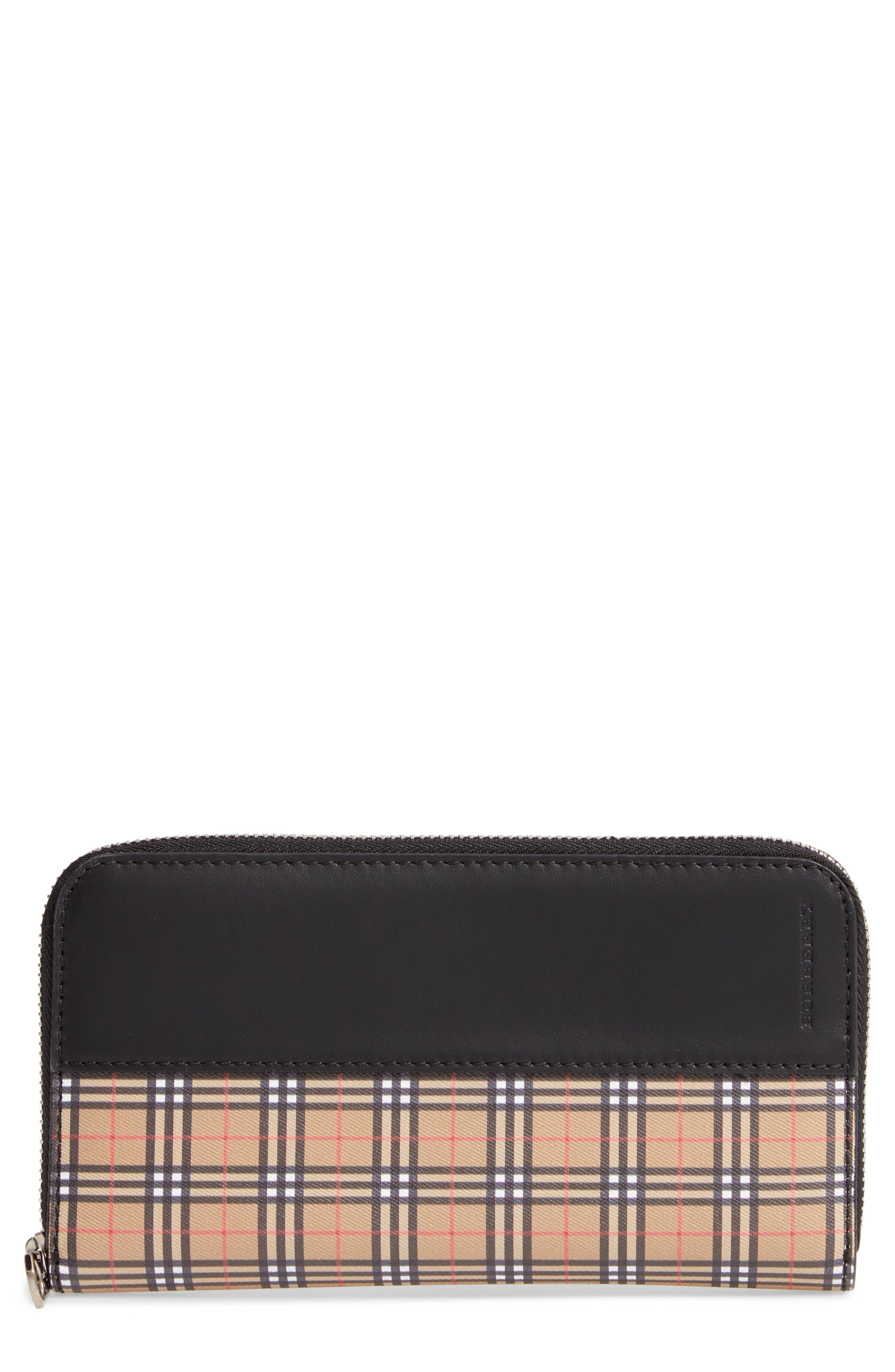Mini Vintage Canvas Check & Leather Zip Around Wallet,                             Main thumbnail 1, color,                             ANTIQUE YELLOW/ BLACK