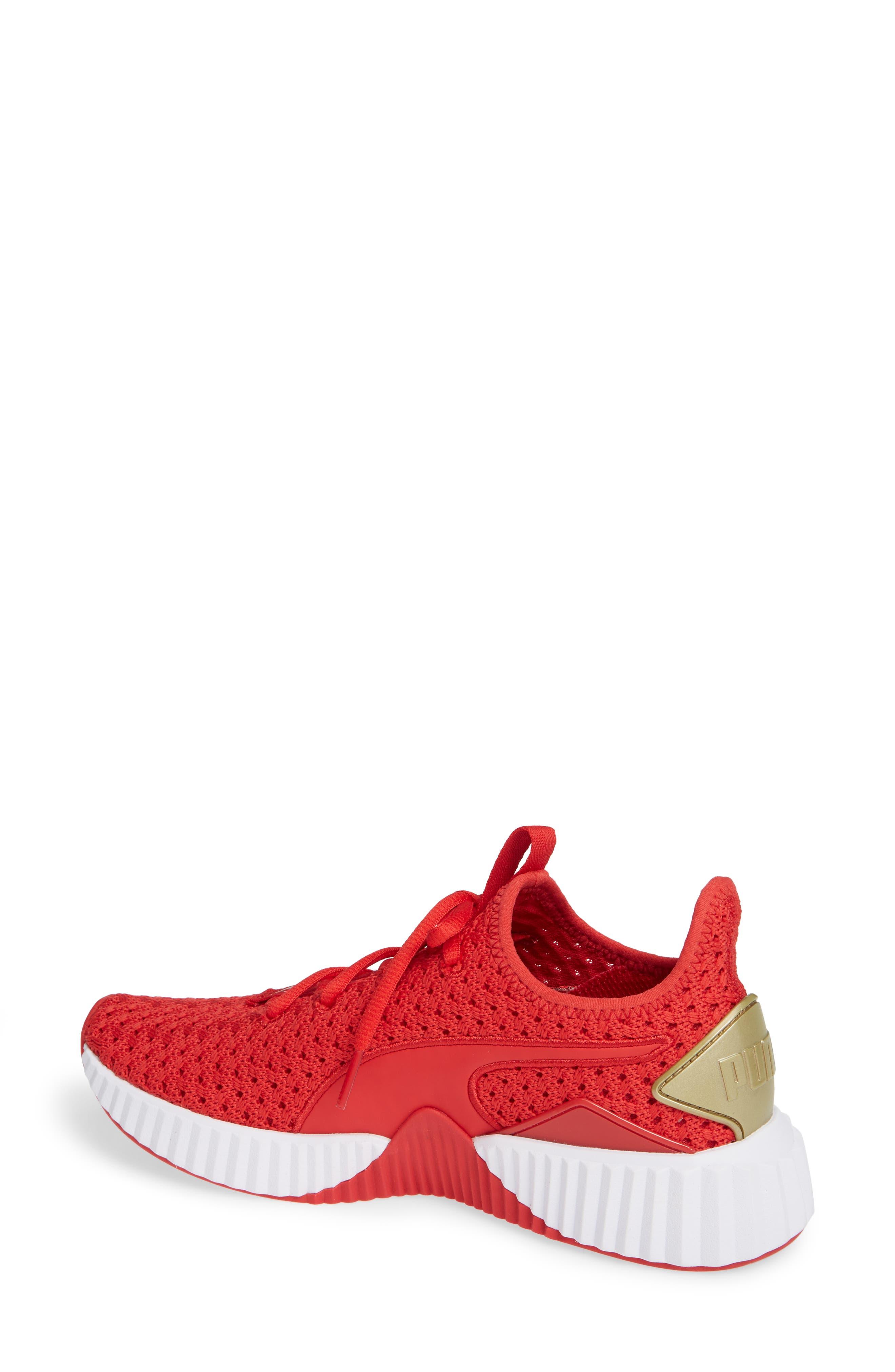 Defy Varsity Sneaker,                             Alternate thumbnail 2, color,                             RIBBON RED/ METALLIC GOLD