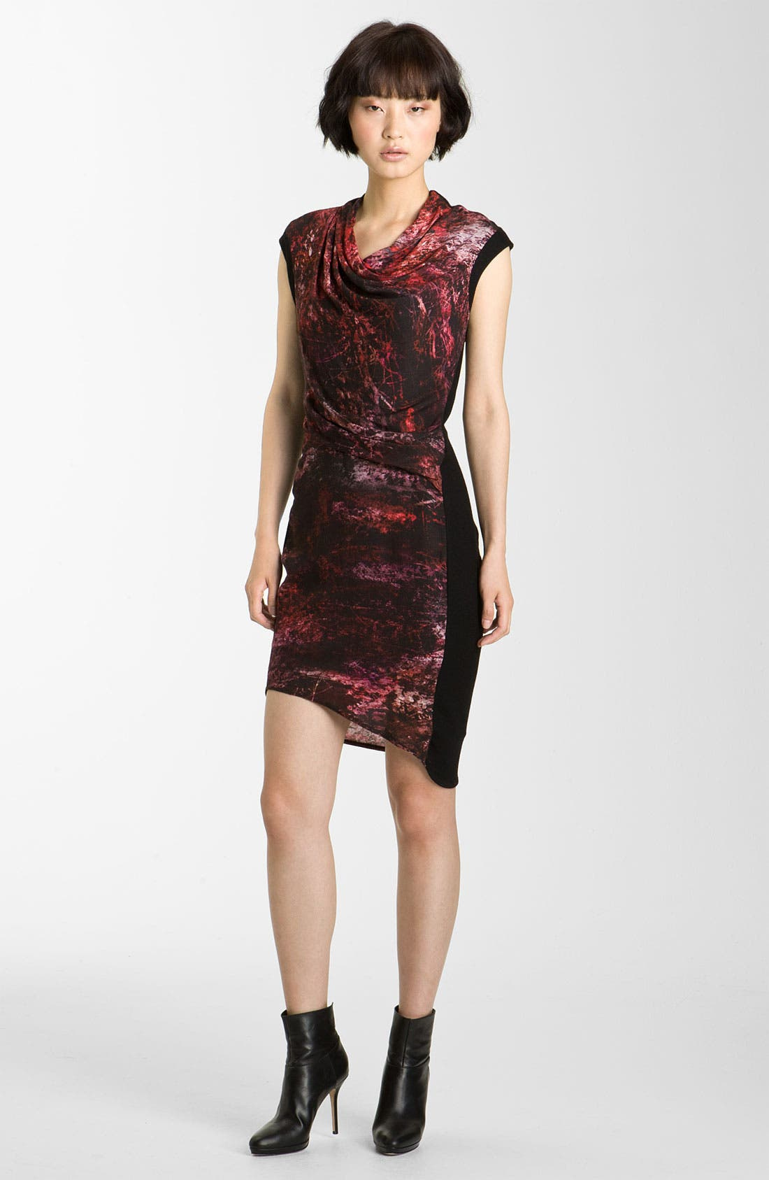 HELMUT LANG 'Midnight Floral' Print Twill Dress, Main, color, 640