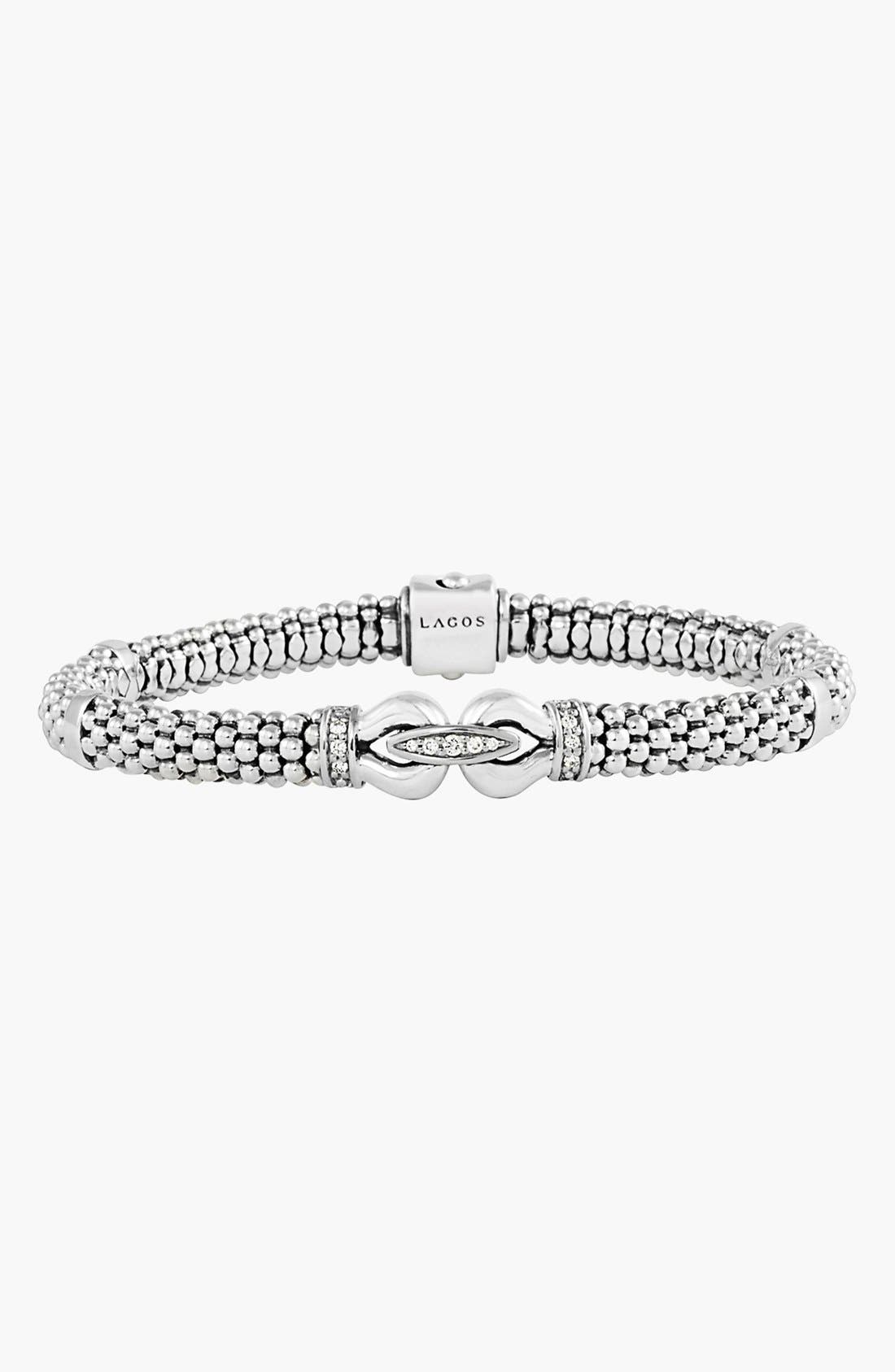 'Derby' Diamond Buckle Rope Bracelet,                             Alternate thumbnail 4, color,                             STERLING SILVER